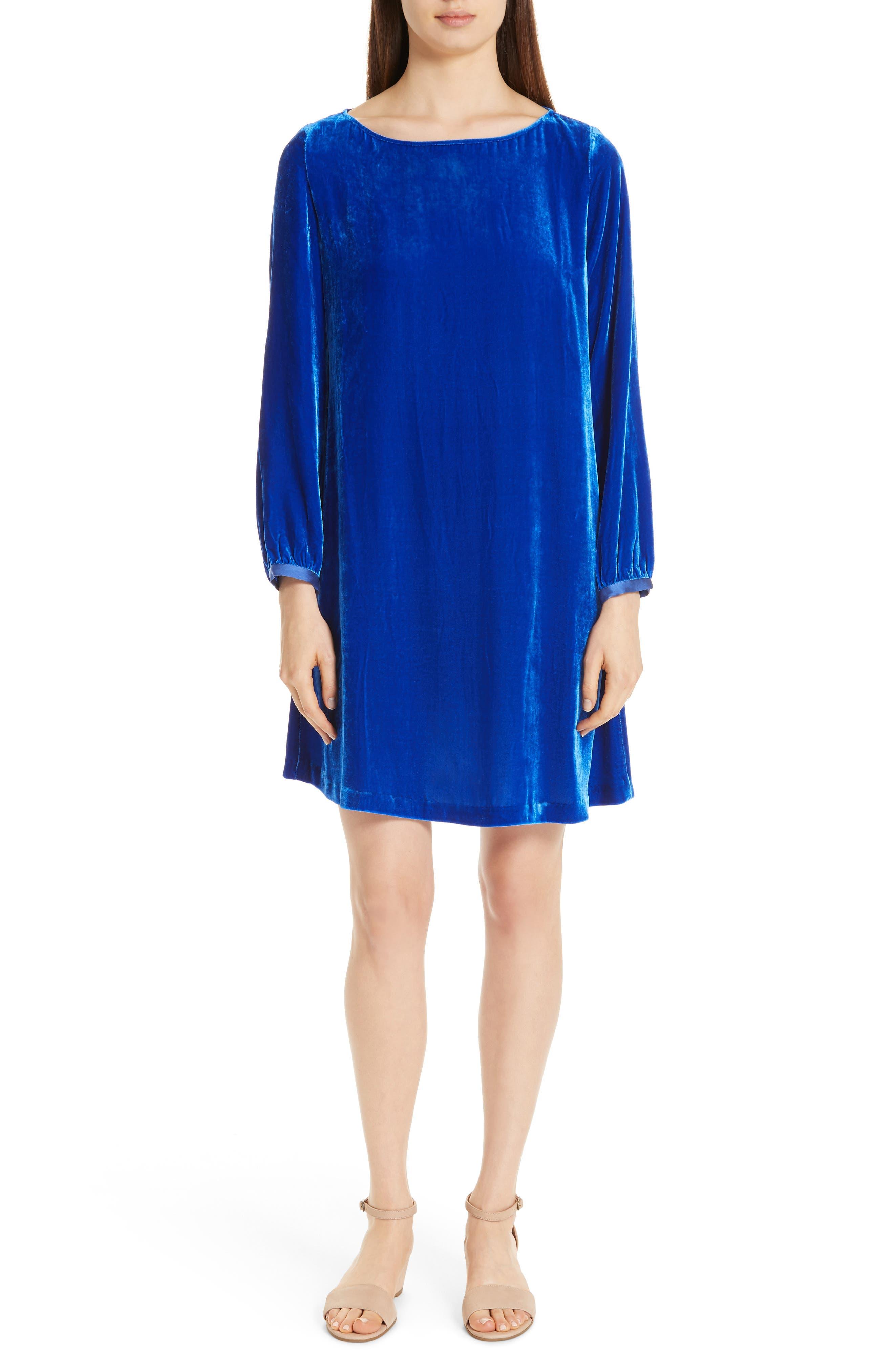 Velvet Bateau-Neck Shift Dress, Petite in Blue