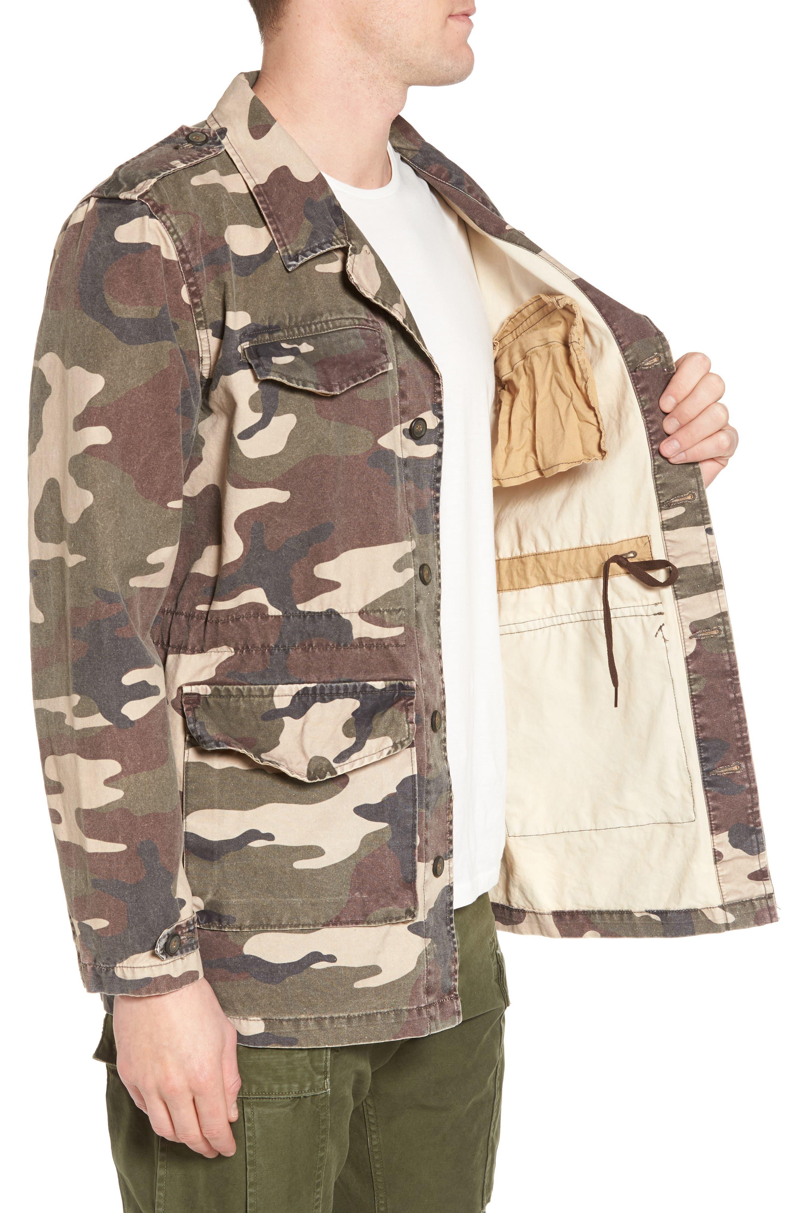 Denim Regular Fit Camo Field Jacket,                             Alternate thumbnail 3, color,                             300