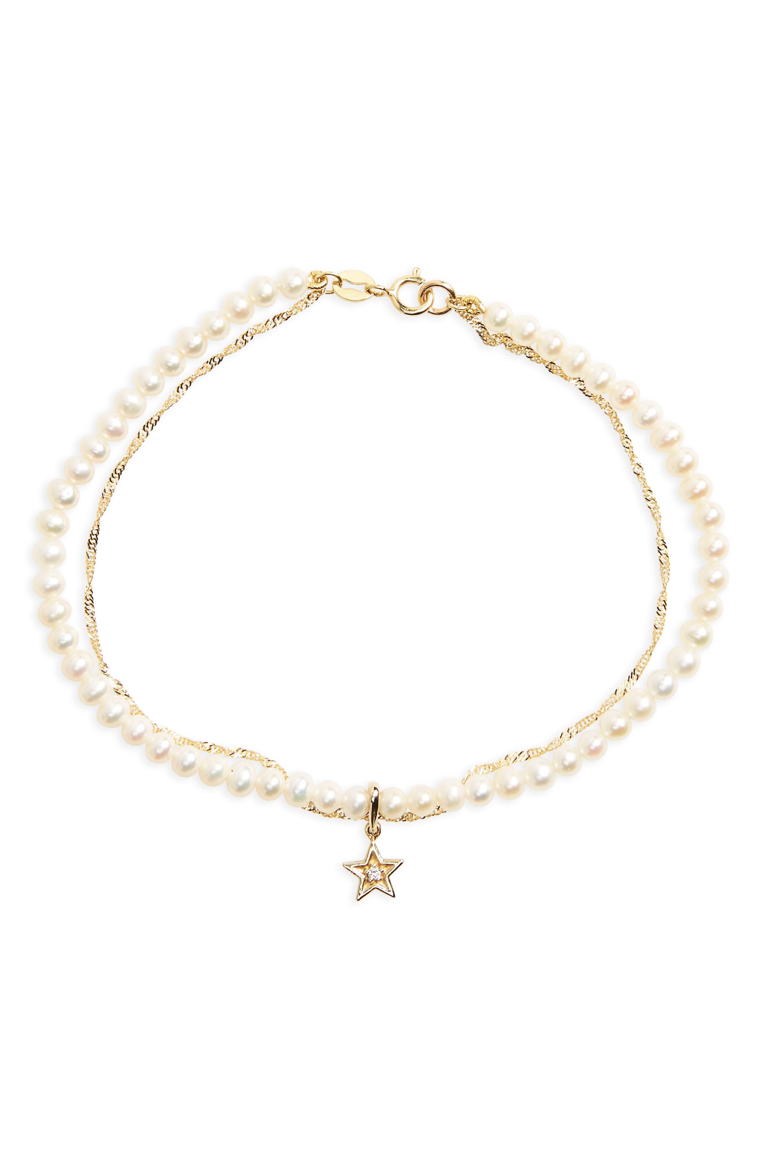 Pavé Diamond & Pearl Chain Bracelet,                             Main thumbnail 1, color,                             YELLOW GOLD