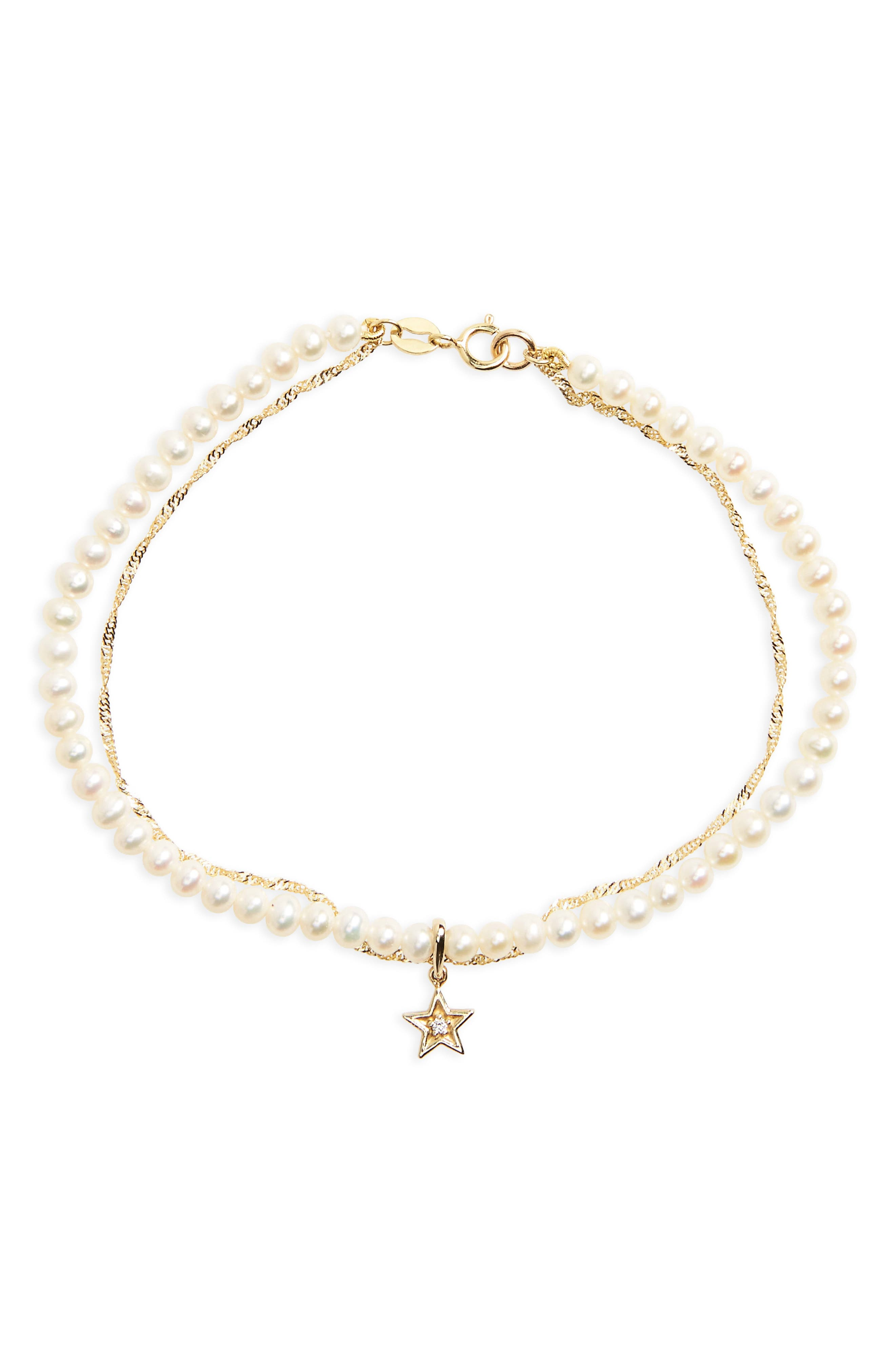 Pavé Diamond & Pearl Chain Bracelet,                         Main,                         color, YELLOW GOLD