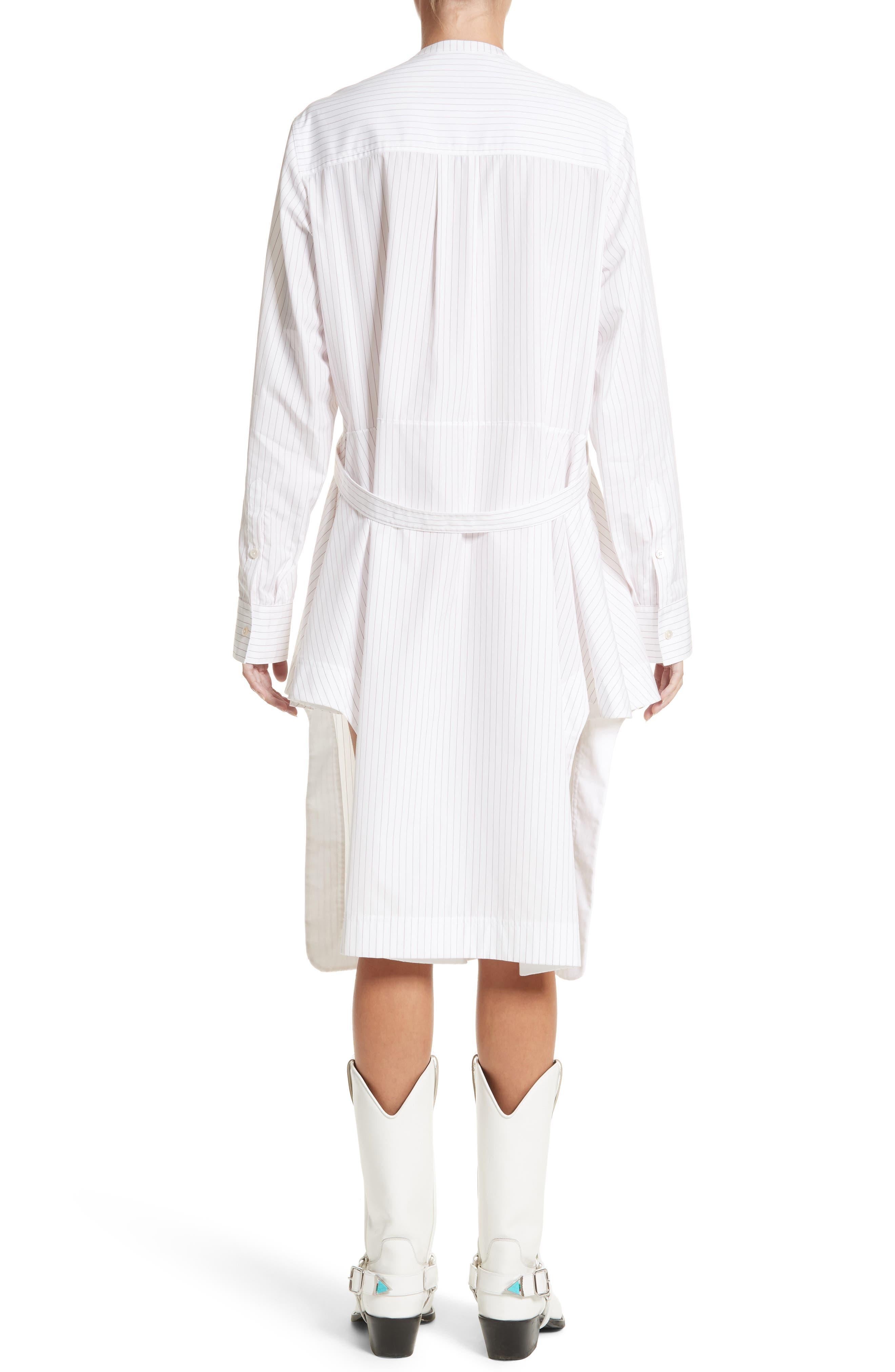 Pinstripe Cotton Poplin Dress,                             Alternate thumbnail 2, color,                             100