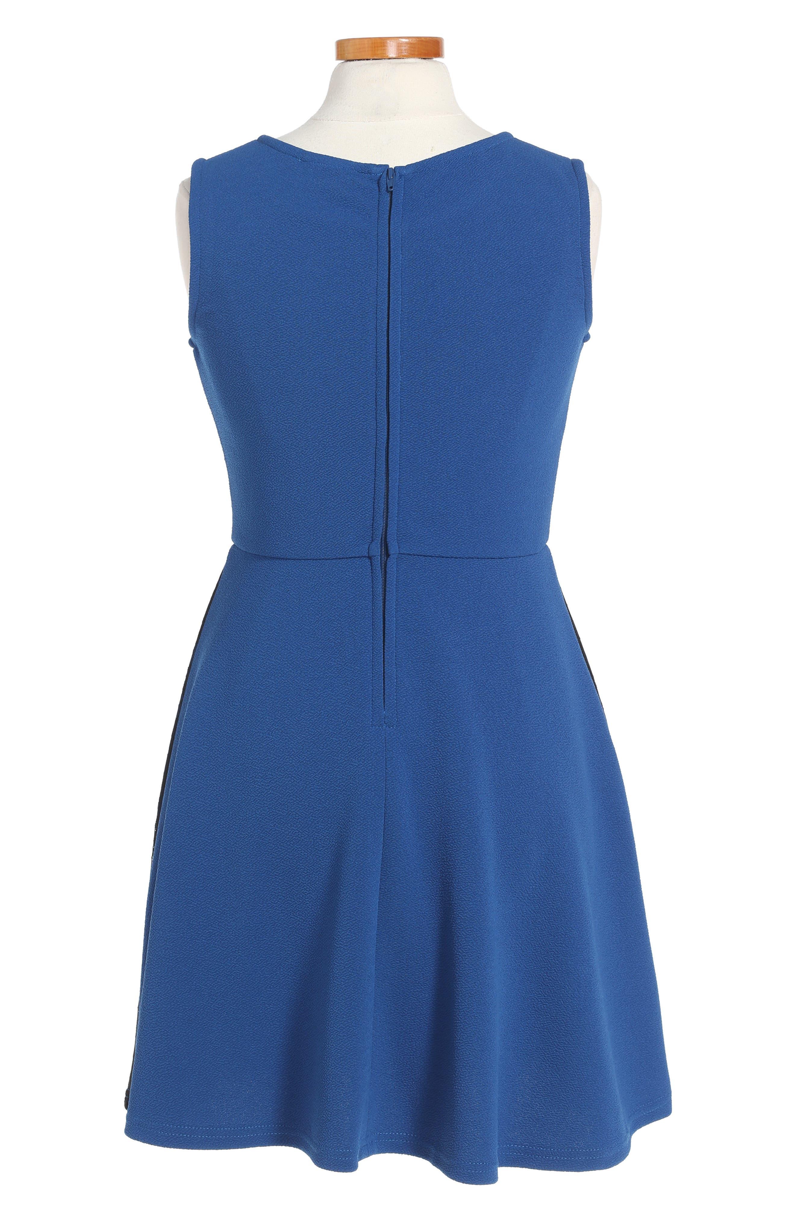 Lace Trim Piqué Dress,                             Alternate thumbnail 2, color,                             406