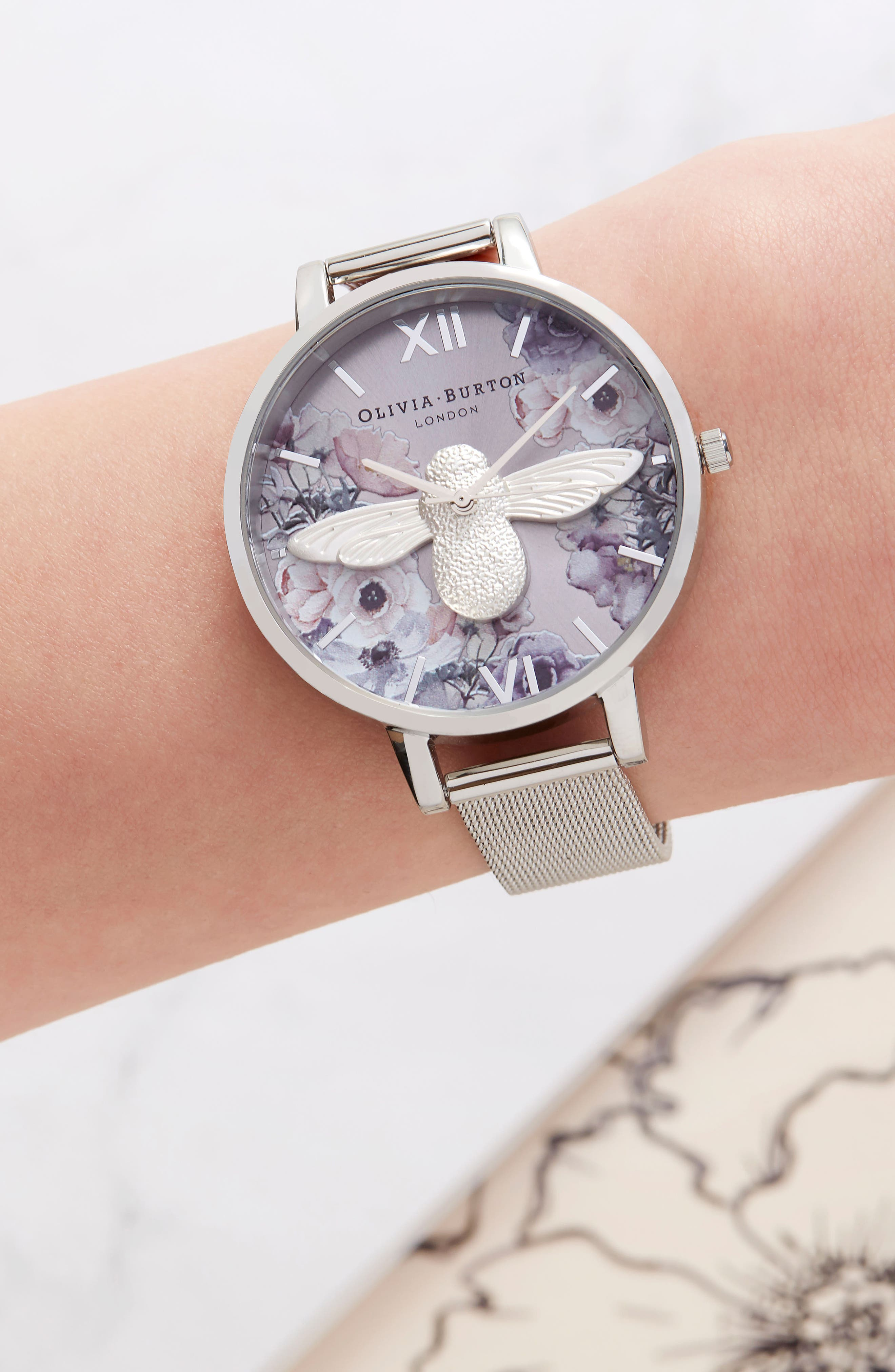 Watercolor Floral Mesh Strap Watch, 38mm,                             Alternate thumbnail 6, color,                             SILVER/ BEE/ SILVER