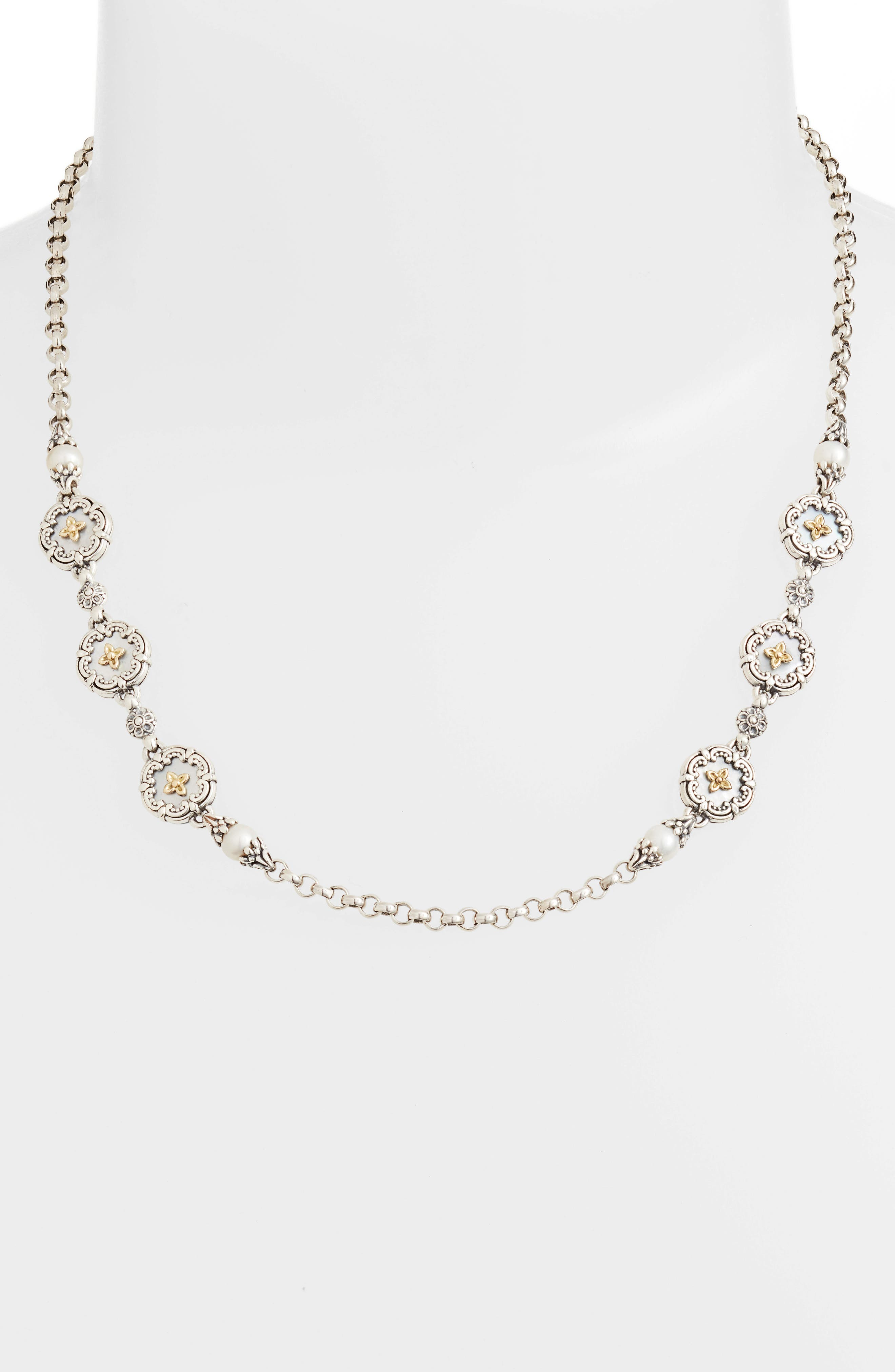 Etched Sterling & Pearl Necklace,                             Alternate thumbnail 2, color,                             040