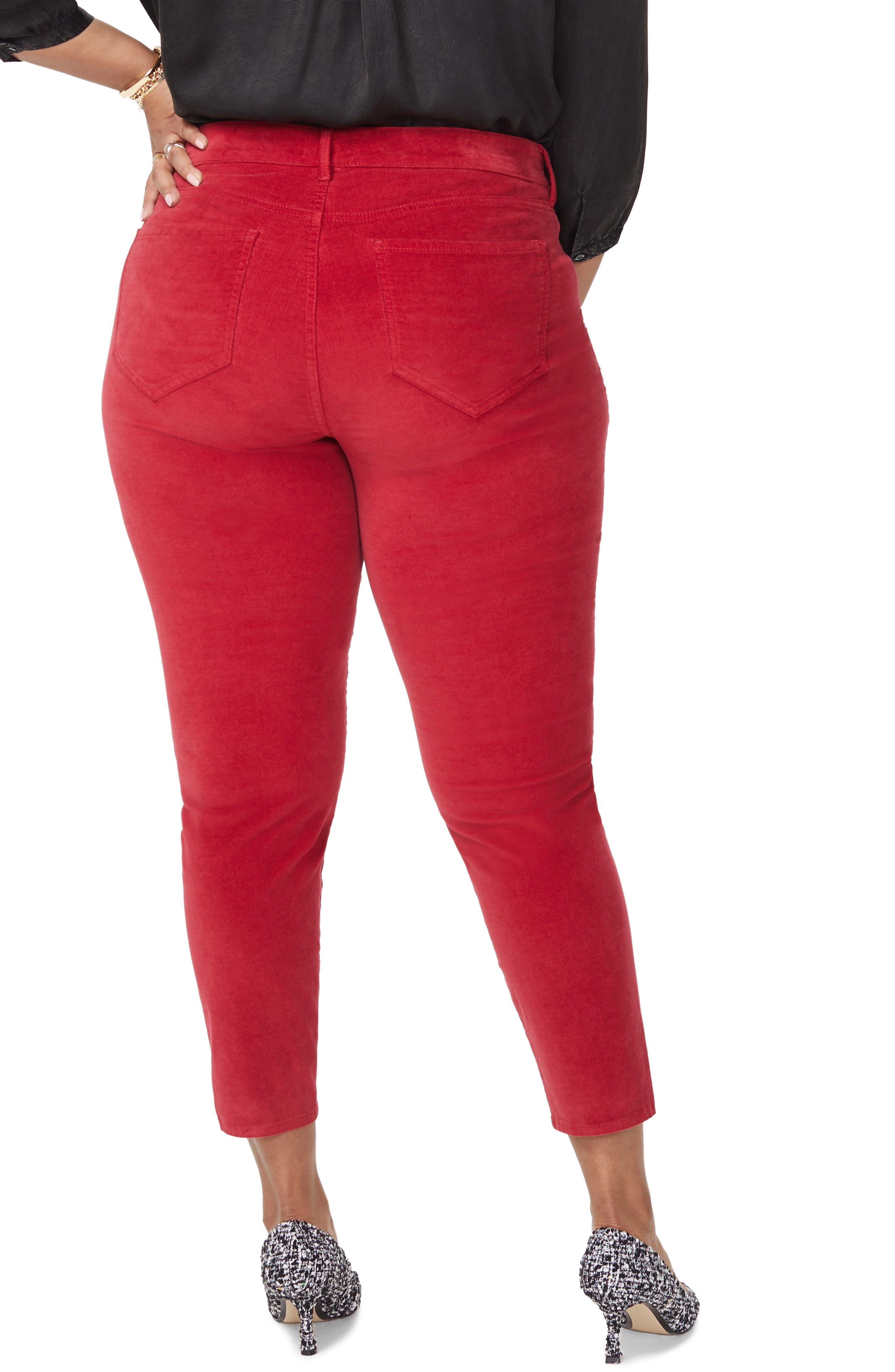 Ami Twist Seam Ankle Slit Velvet Pants,                             Alternate thumbnail 2, color,                             GOOSEBERRY