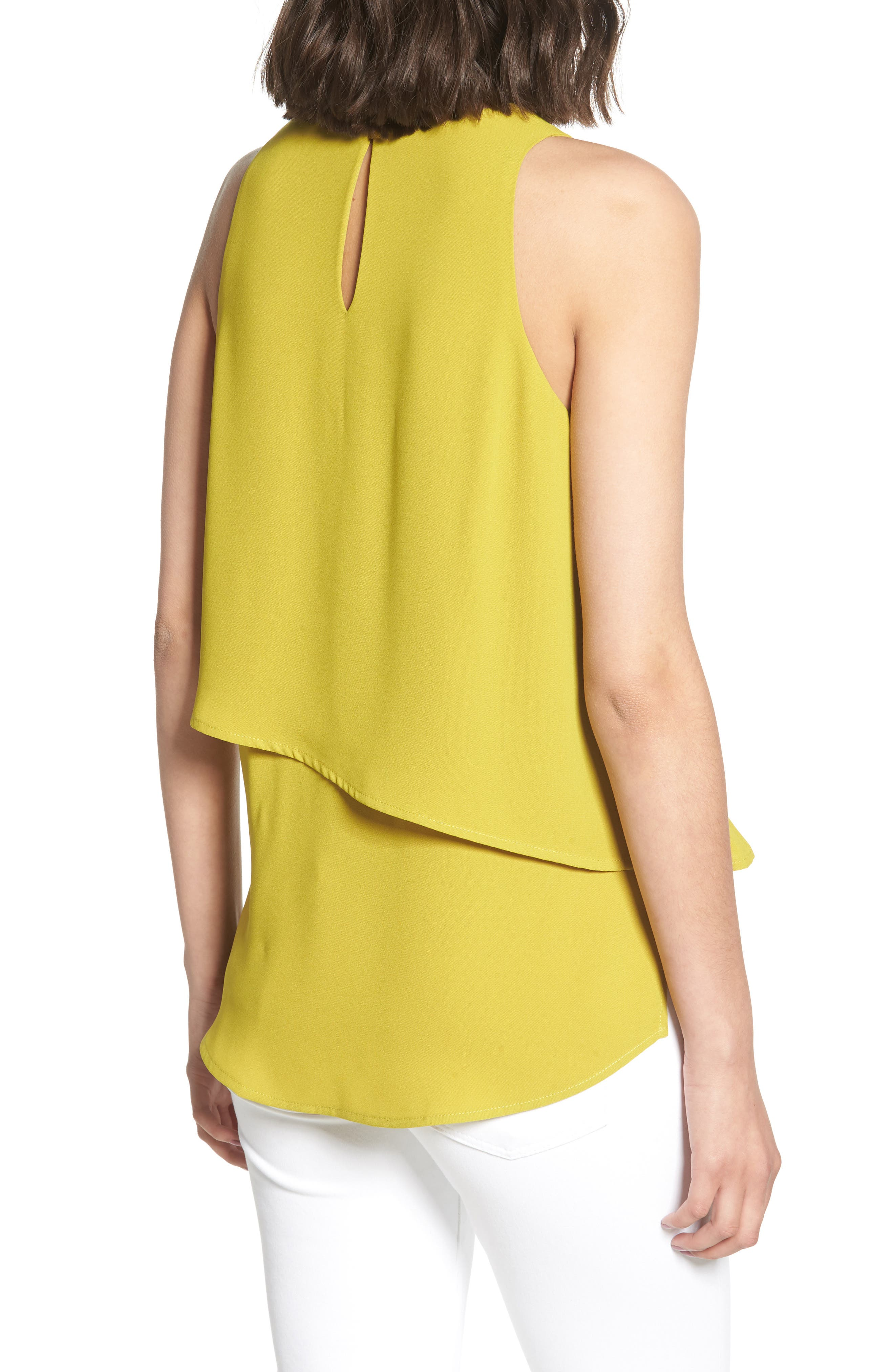 Tiered Sleeveless Top,                             Alternate thumbnail 2, color,                             OLIVE OIL