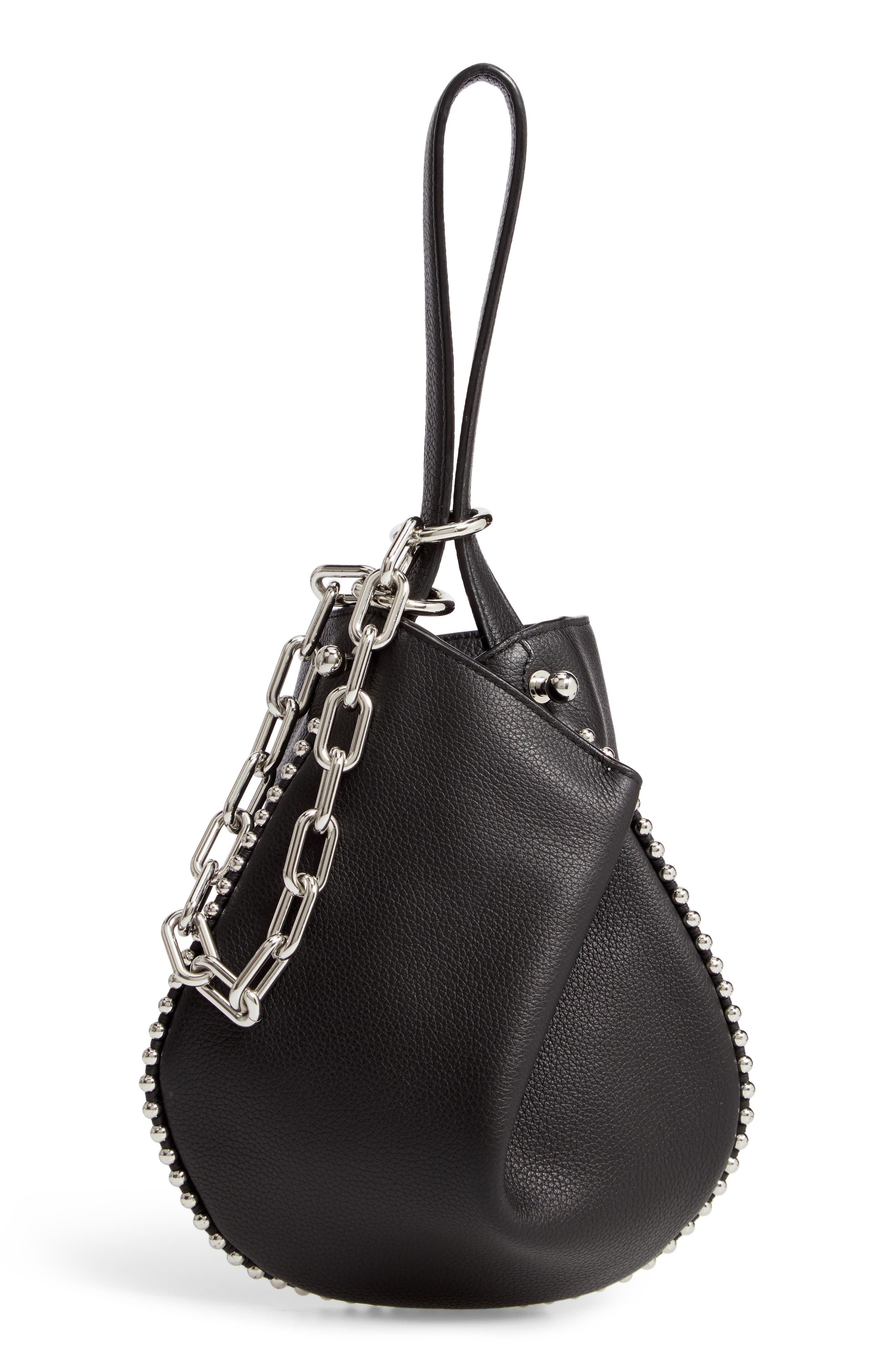 Mini Roxy Leather Bucket Bag,                             Alternate thumbnail 3, color,                             BLACK