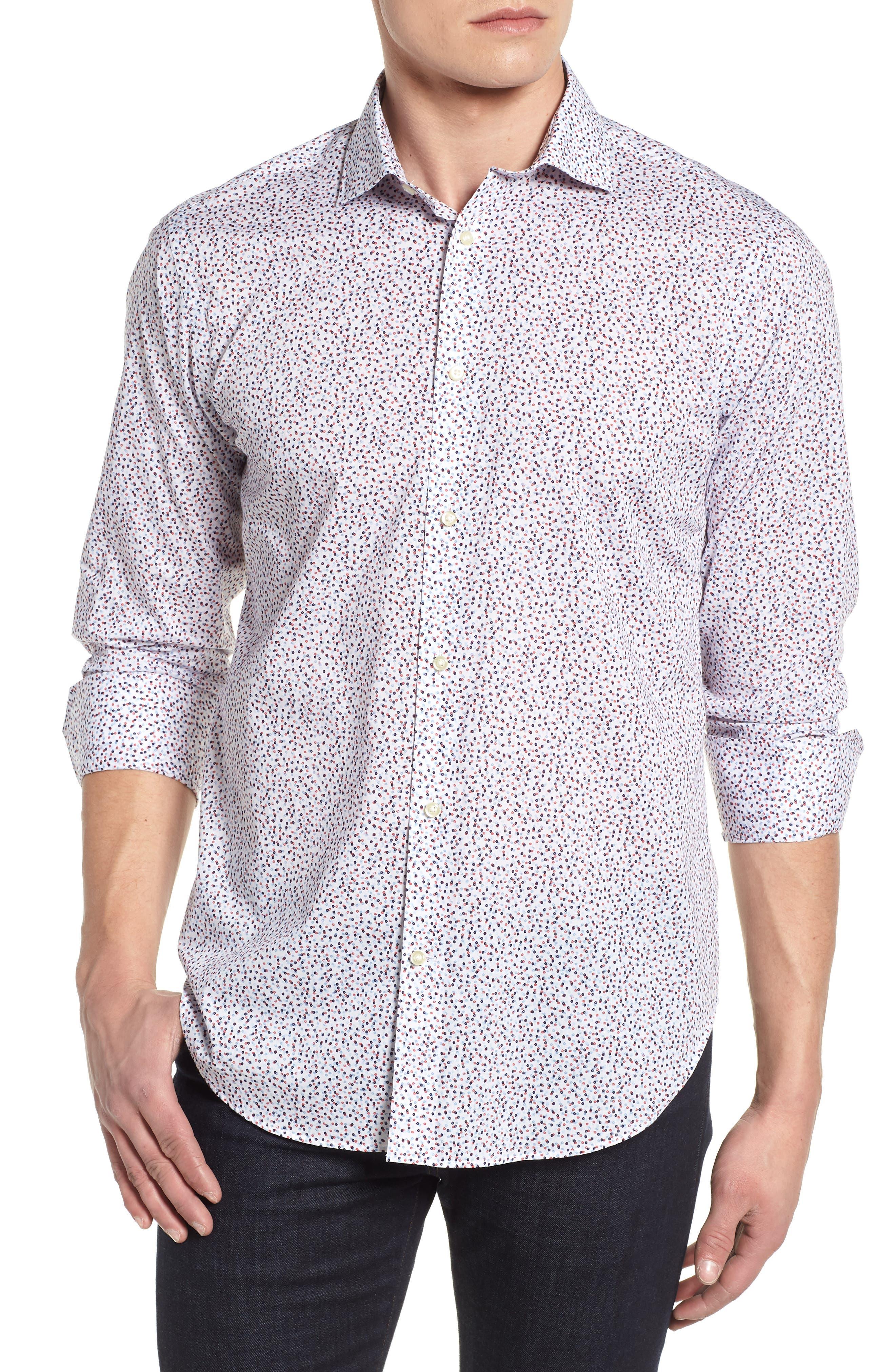 Microprint Sport Shirt,                         Main,                         color, 400