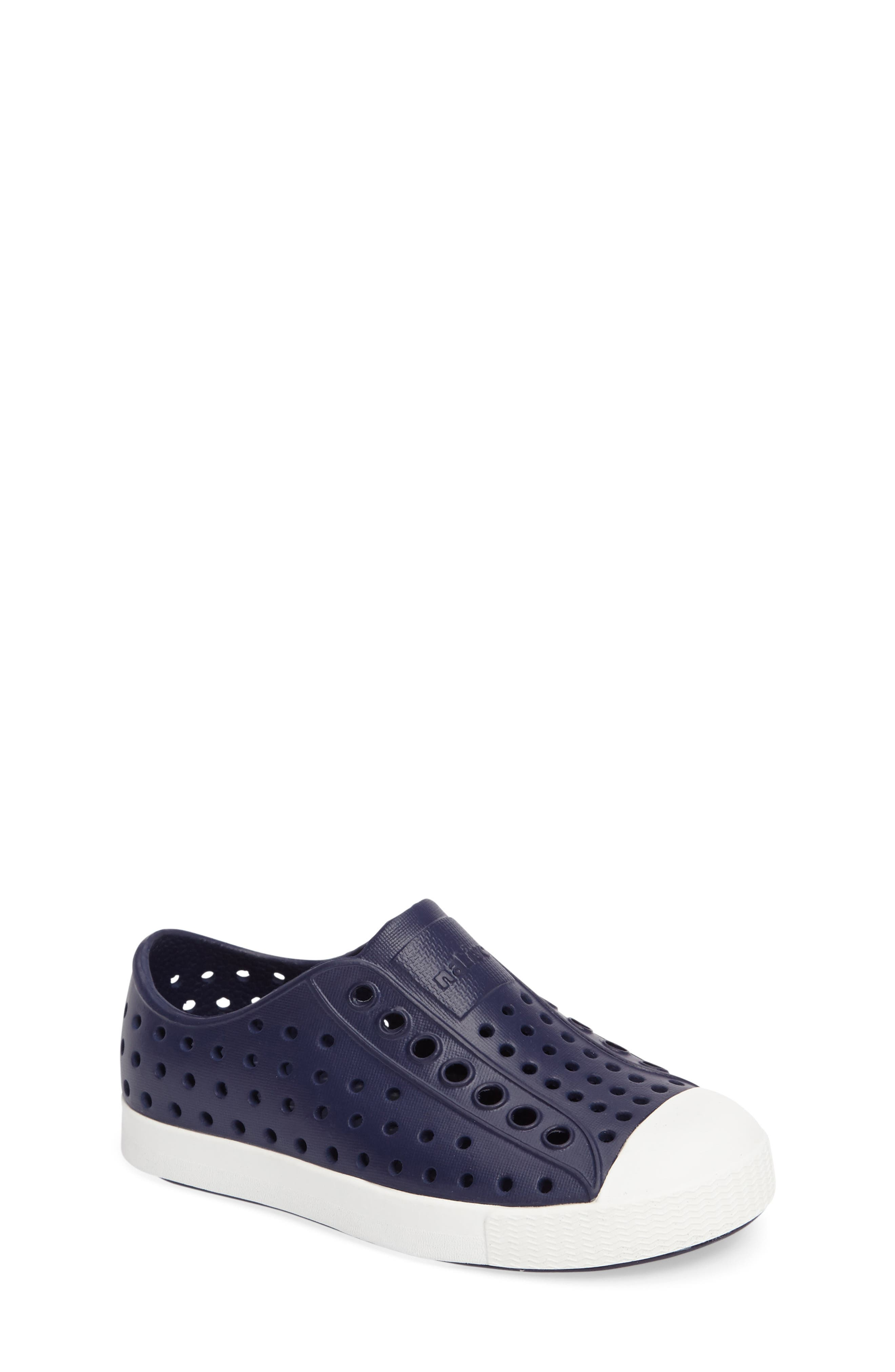 NATIVE SHOES,                             Jefferson Water Friendly Slip-On Vegan Sneaker,                             Main thumbnail 1, color,                             REGATTA BLUE/ SHELL WHITE