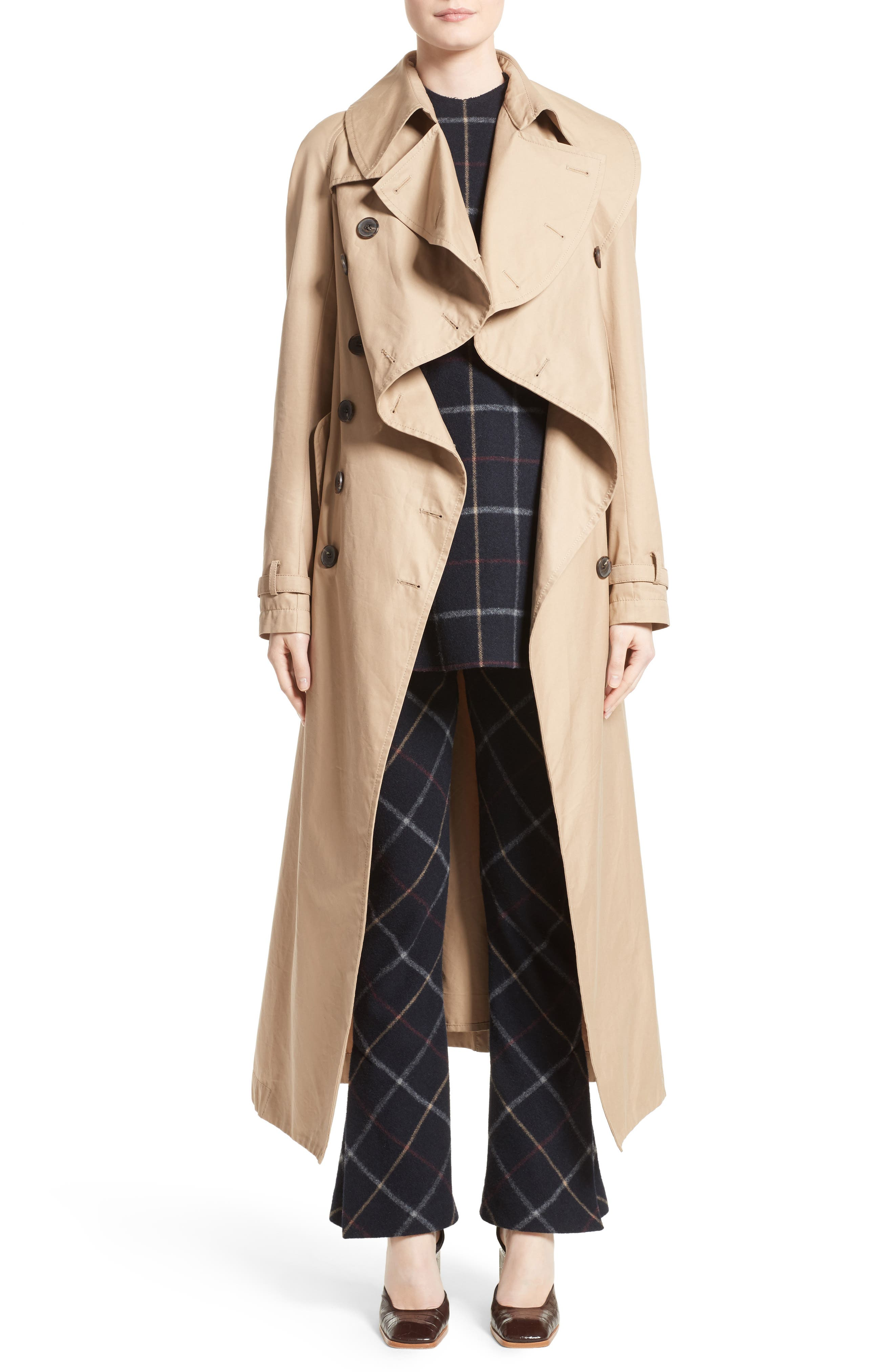 Oversized Cotton Trench Coat,                             Main thumbnail 1, color,                             250