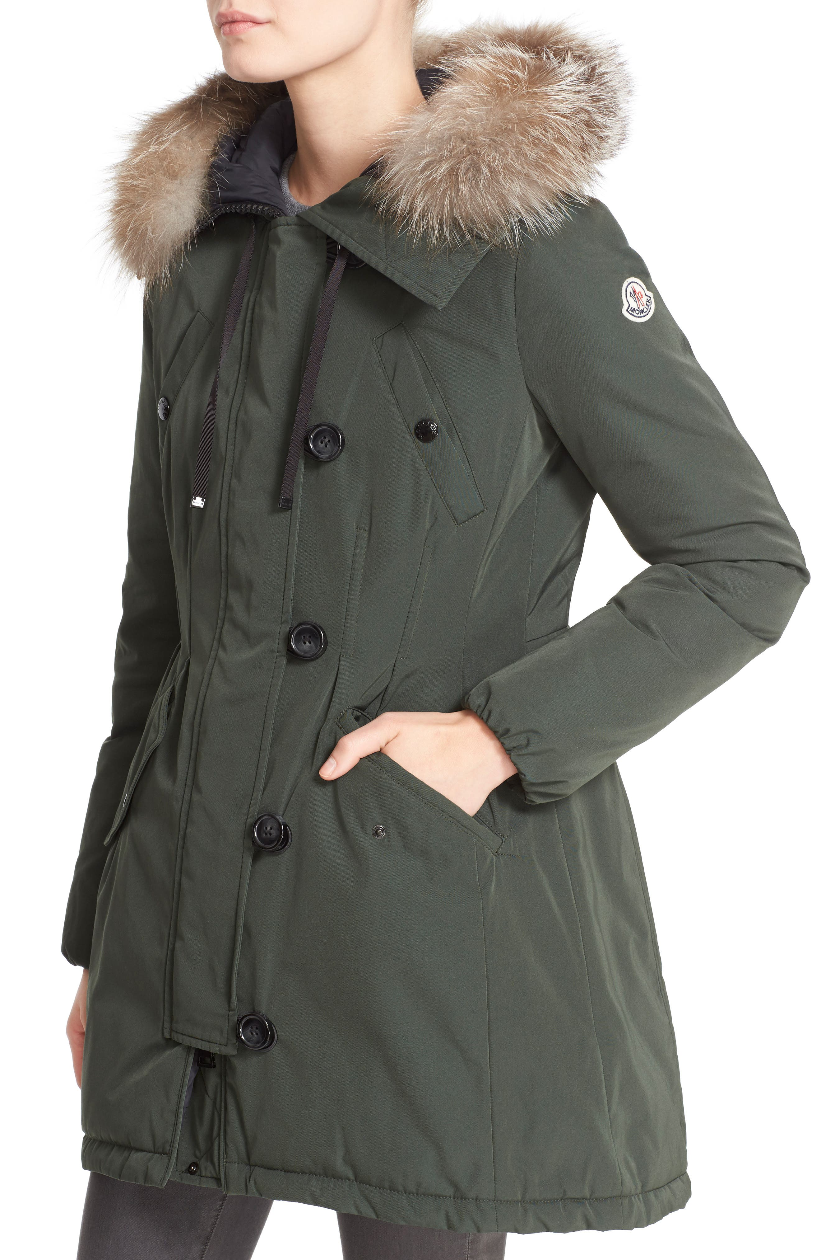 Aredhel Hooded Down Parka with Removable Genuine Fox Fur Trim,                             Alternate thumbnail 4, color,                             001