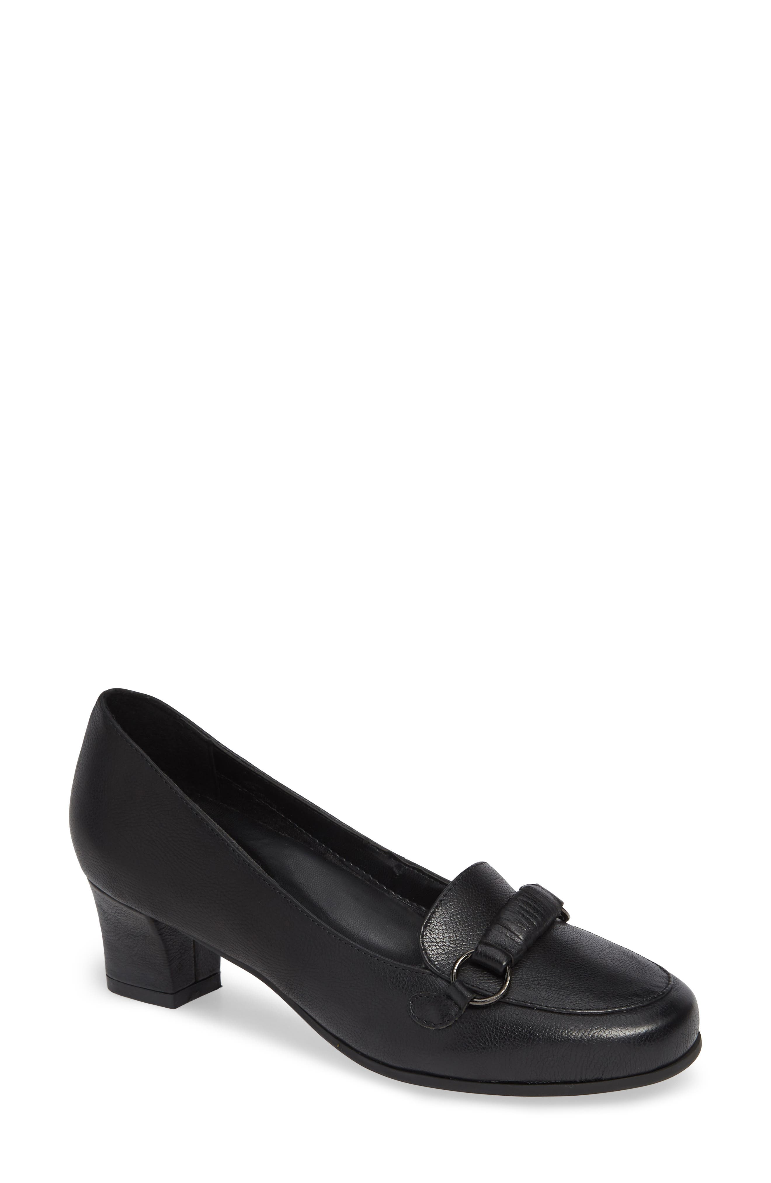Perky Loafer Pump,                             Main thumbnail 1, color,                             BLACK LEATHER