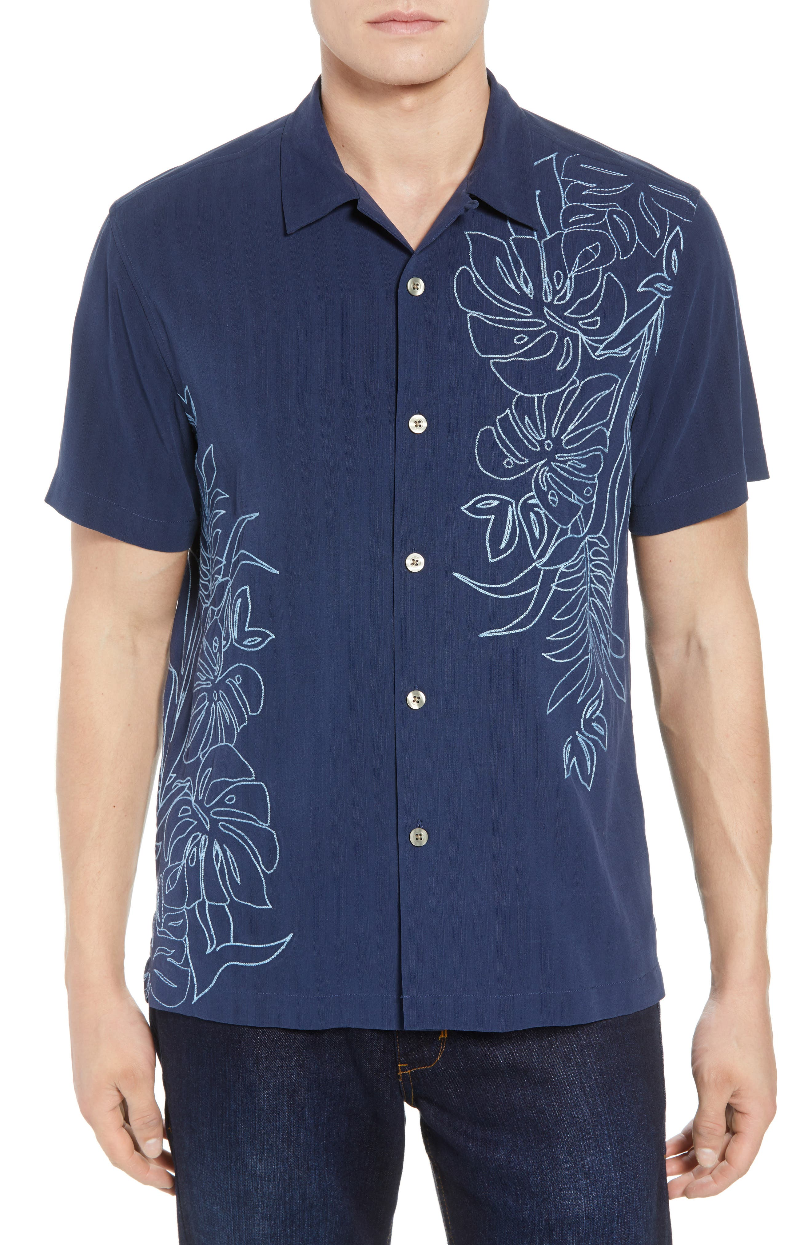 Playa Palmas Silk Camp Shirt,                             Main thumbnail 1, color,                             OCEAN DEEP