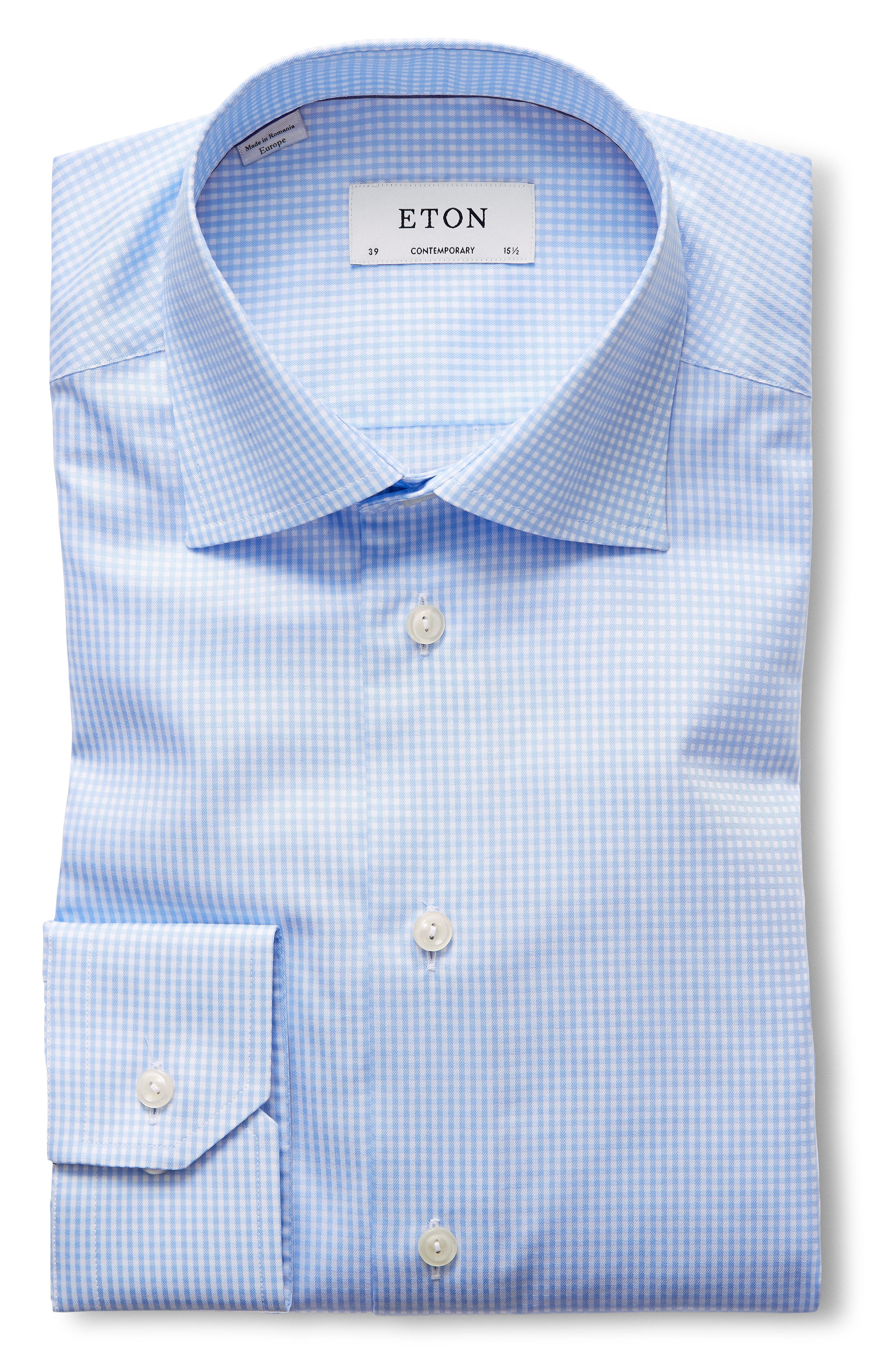 Contemporary Fit Check Dress Shirt,                             Alternate thumbnail 5, color,                             BLUE