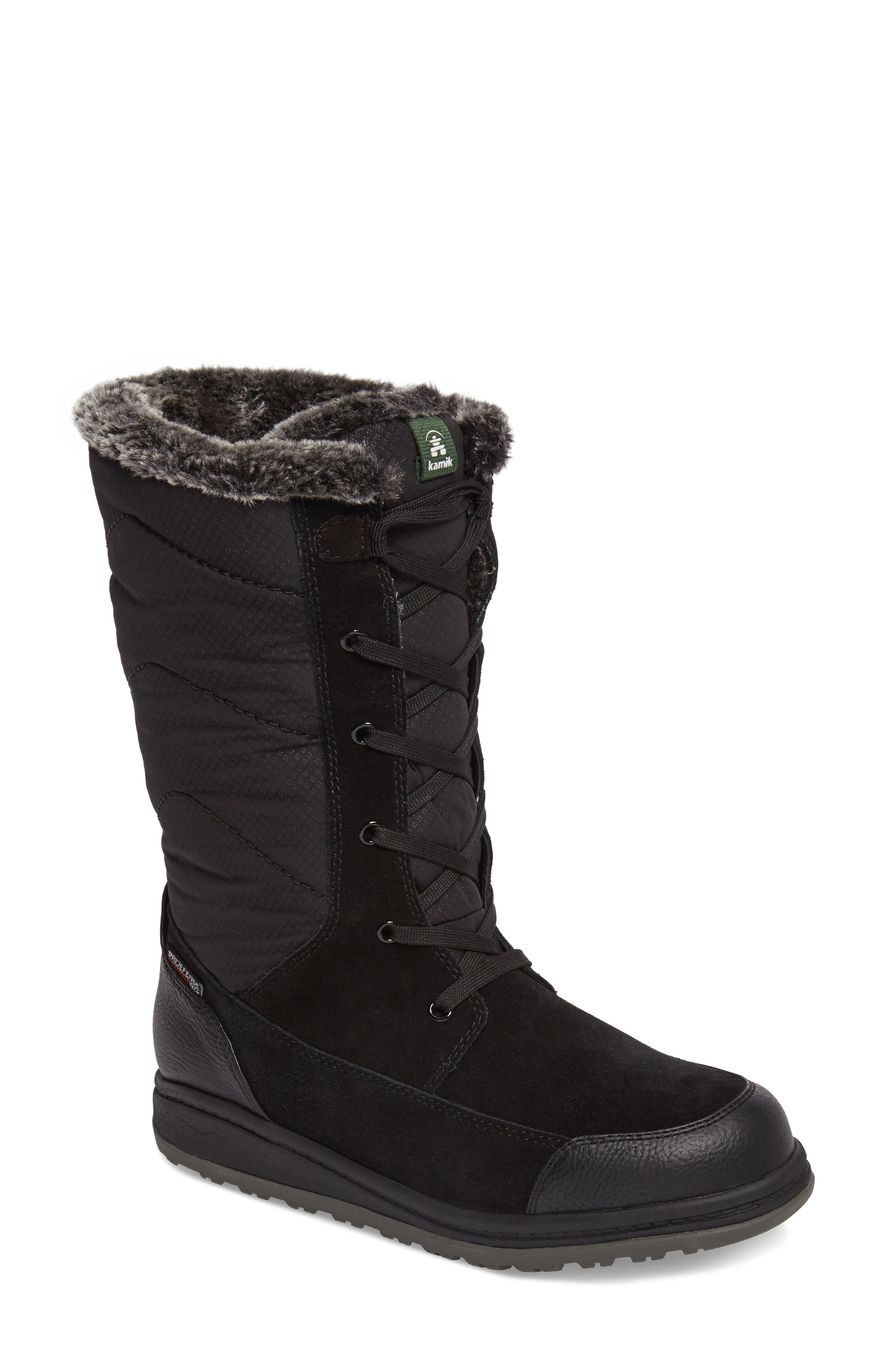 QuincyS Waterproof Boot,                         Main,                         color, BLACK FABRIC