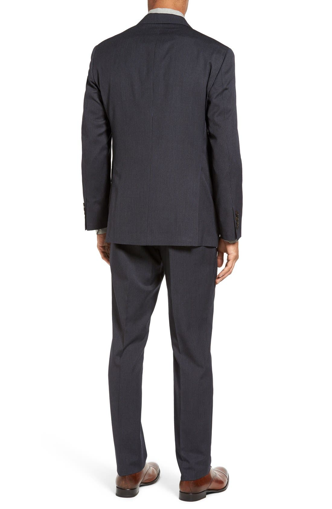Trim Fit Stripe Wool Suit,                             Alternate thumbnail 2, color,