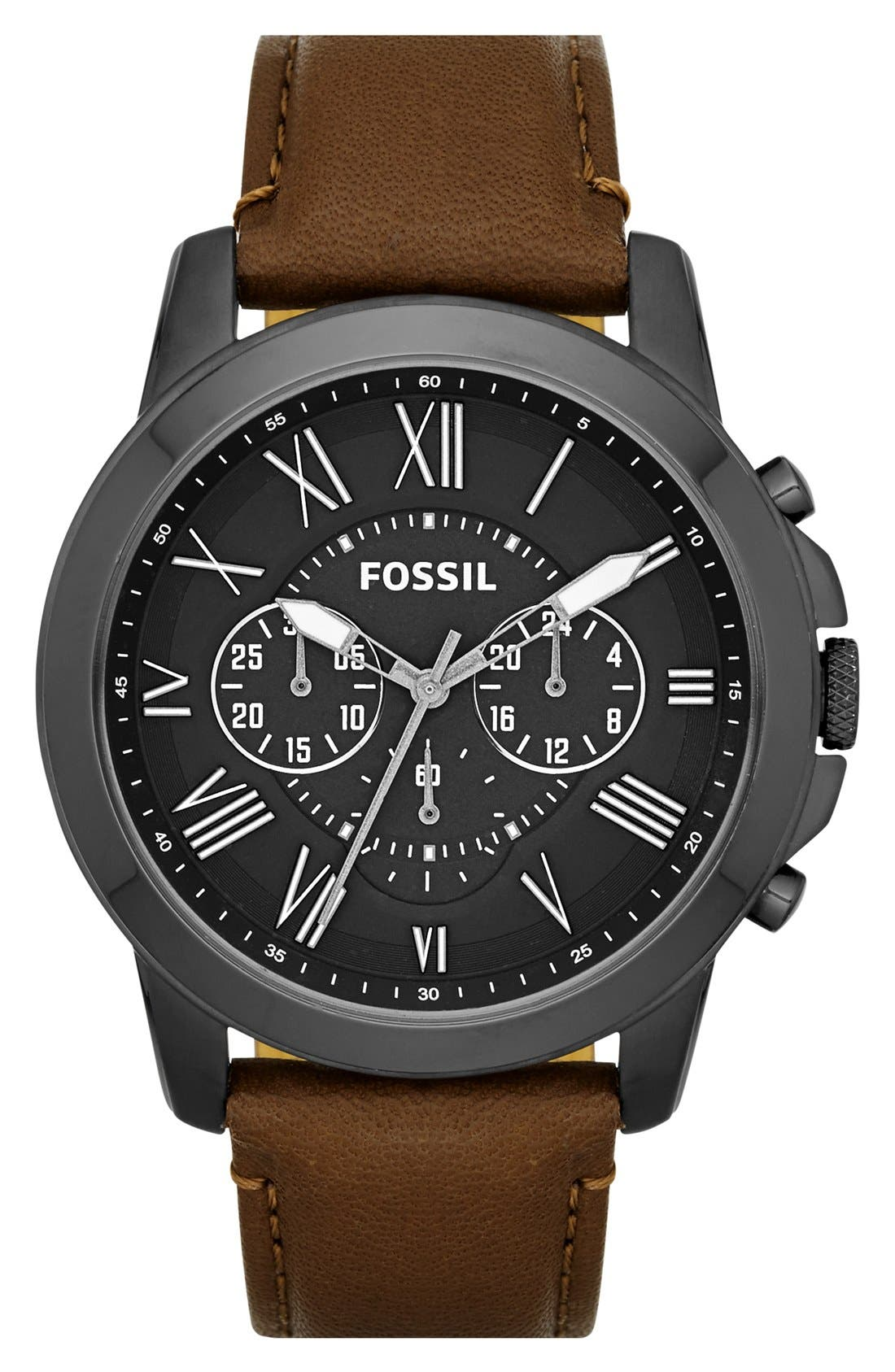 'Grant' Round Chronograph Leather Strap Watch, 44mm,                             Main thumbnail 12, color,