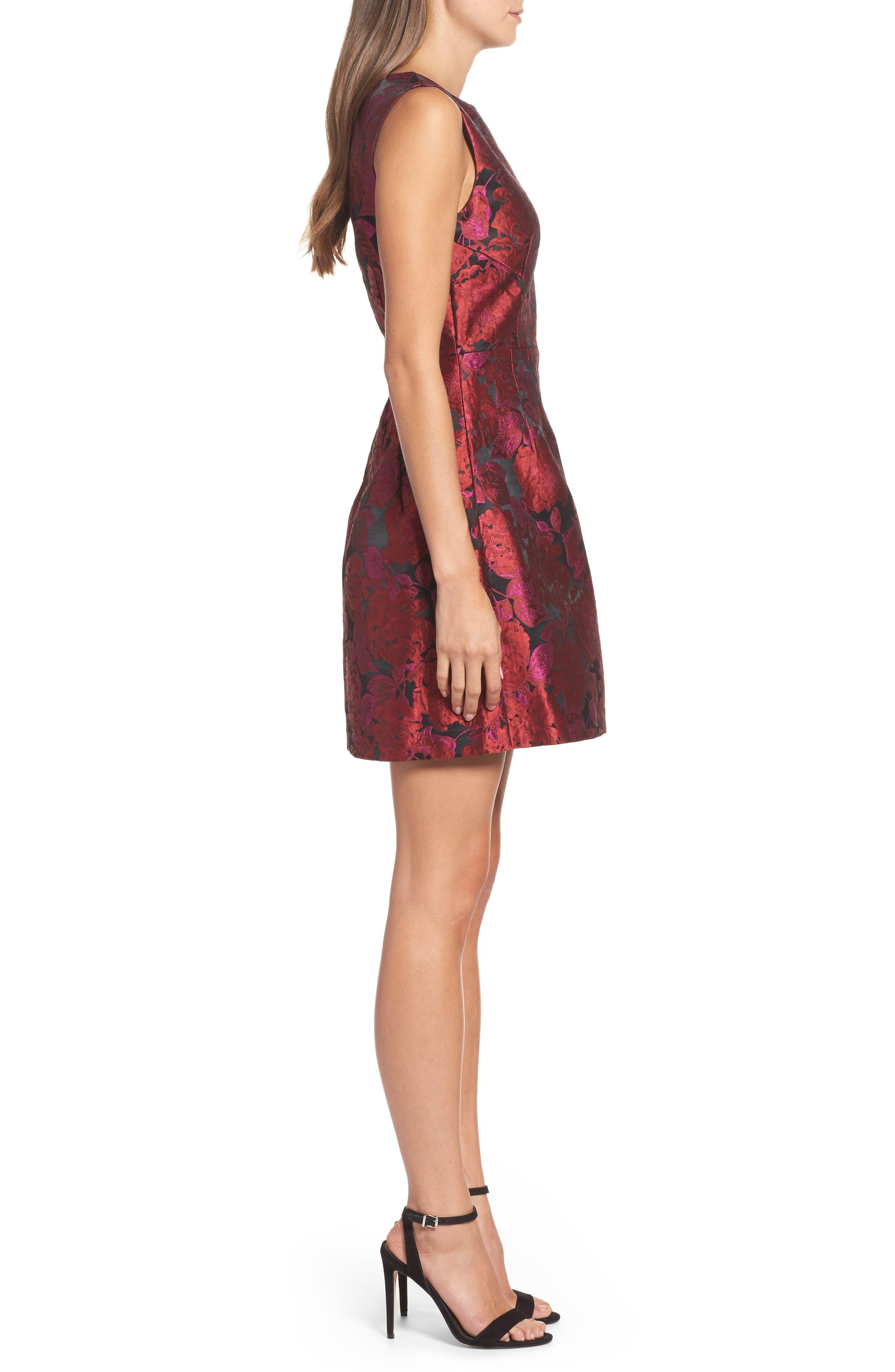 Jacquard Fit & Flare Dress,                             Alternate thumbnail 3, color,                             635