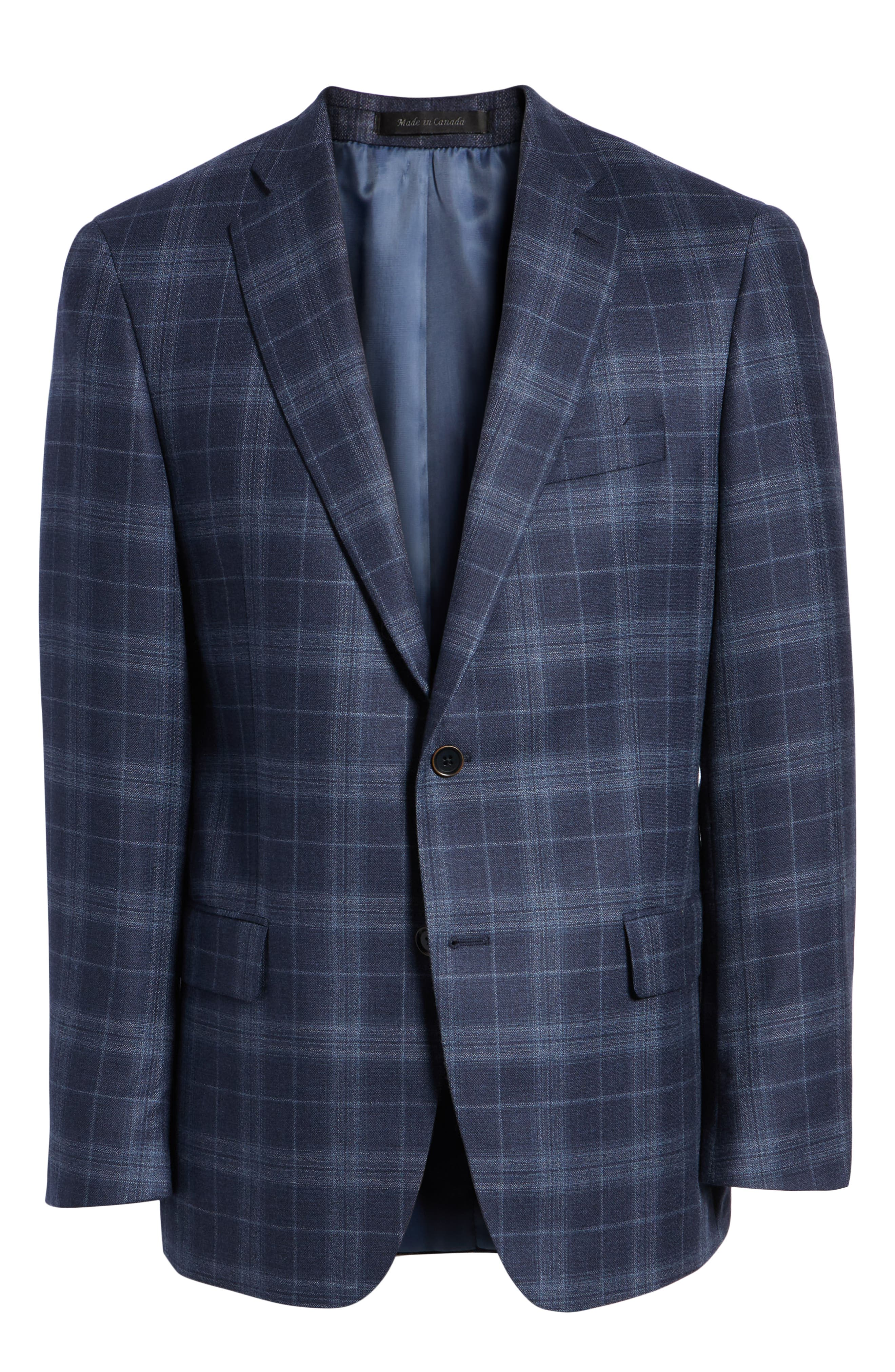 Classic Fit Plaid Wool & Silk Sport Coat,                             Alternate thumbnail 5, color,                             NAVY