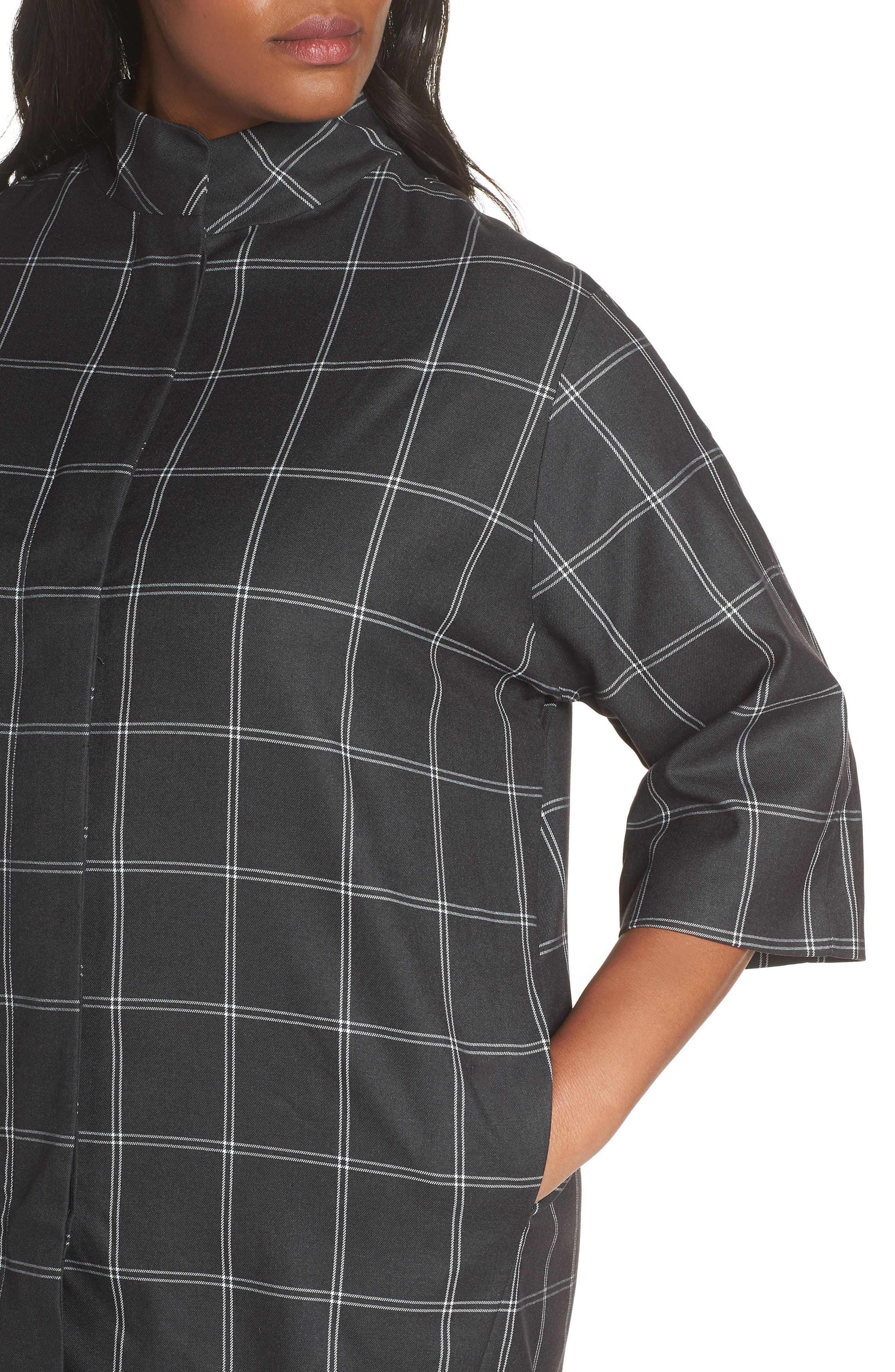 Windowpane Topper Jacket,                             Alternate thumbnail 4, color,                             GREY TWILL PLAID