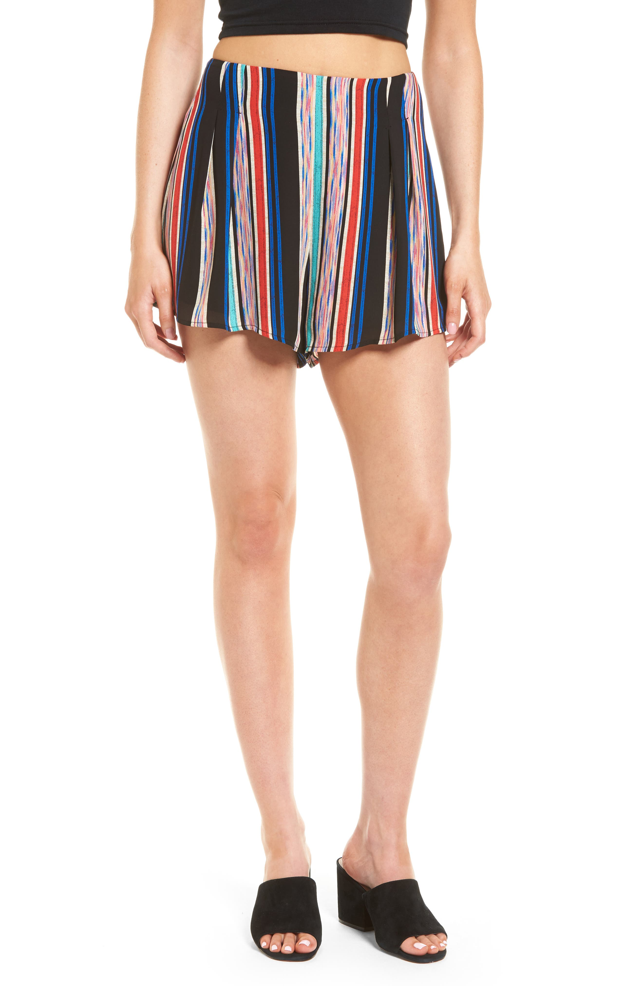 Pleat Front High Waist Shorts,                         Main,                         color, 001