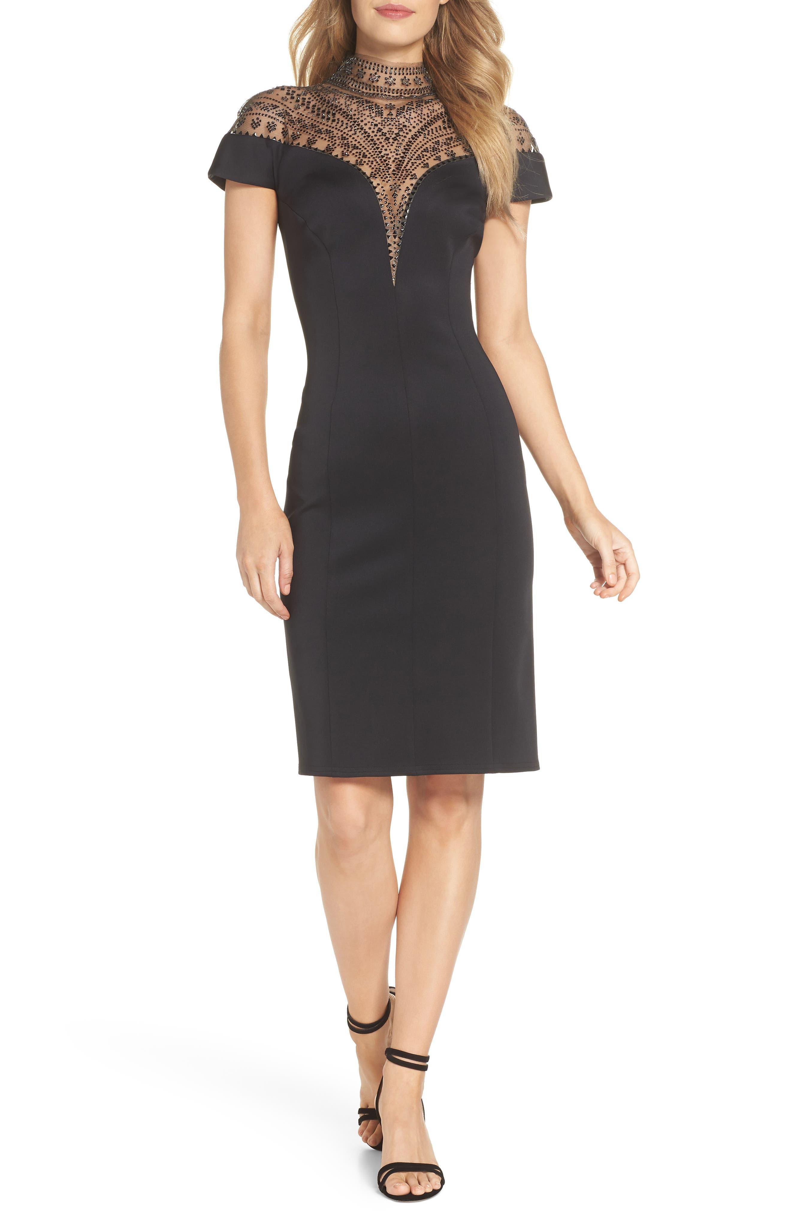 Embellished Illusion Body-Con Dress,                             Main thumbnail 1, color,                             BLACK