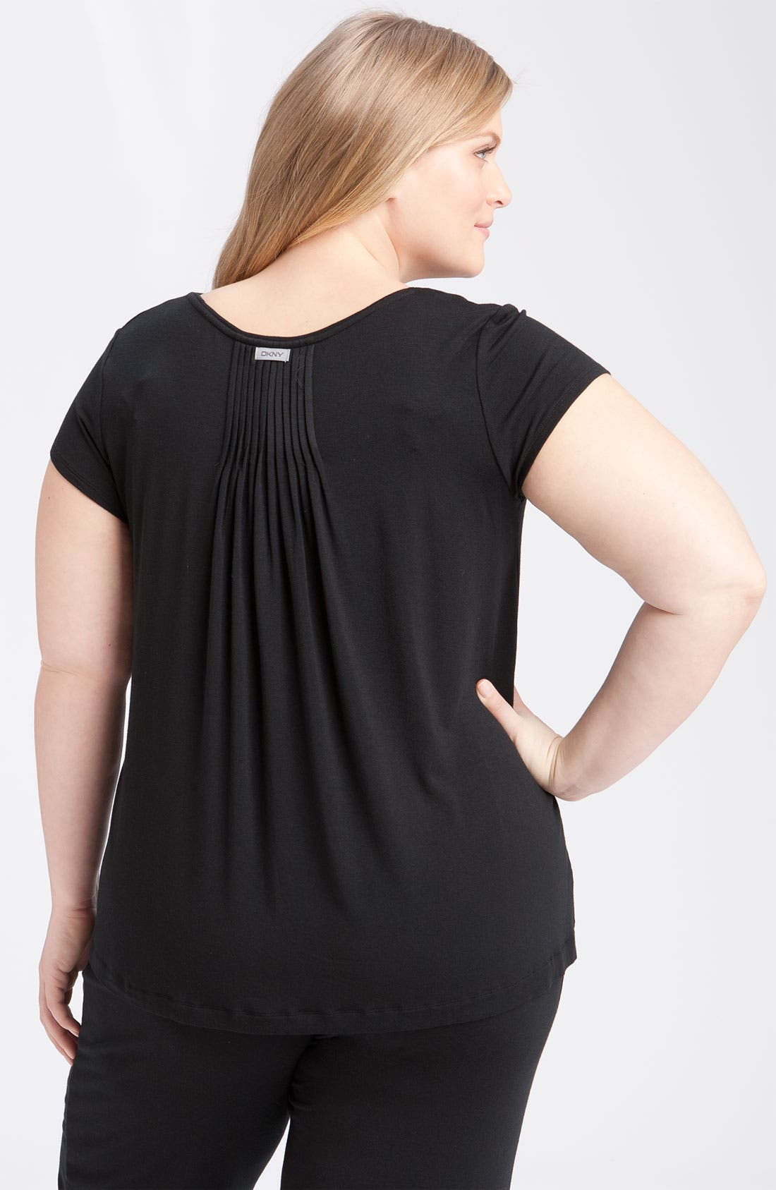 DKNY,                             '7 Easy Pieces' Pintuck Top,                             Alternate thumbnail 2, color,                             001