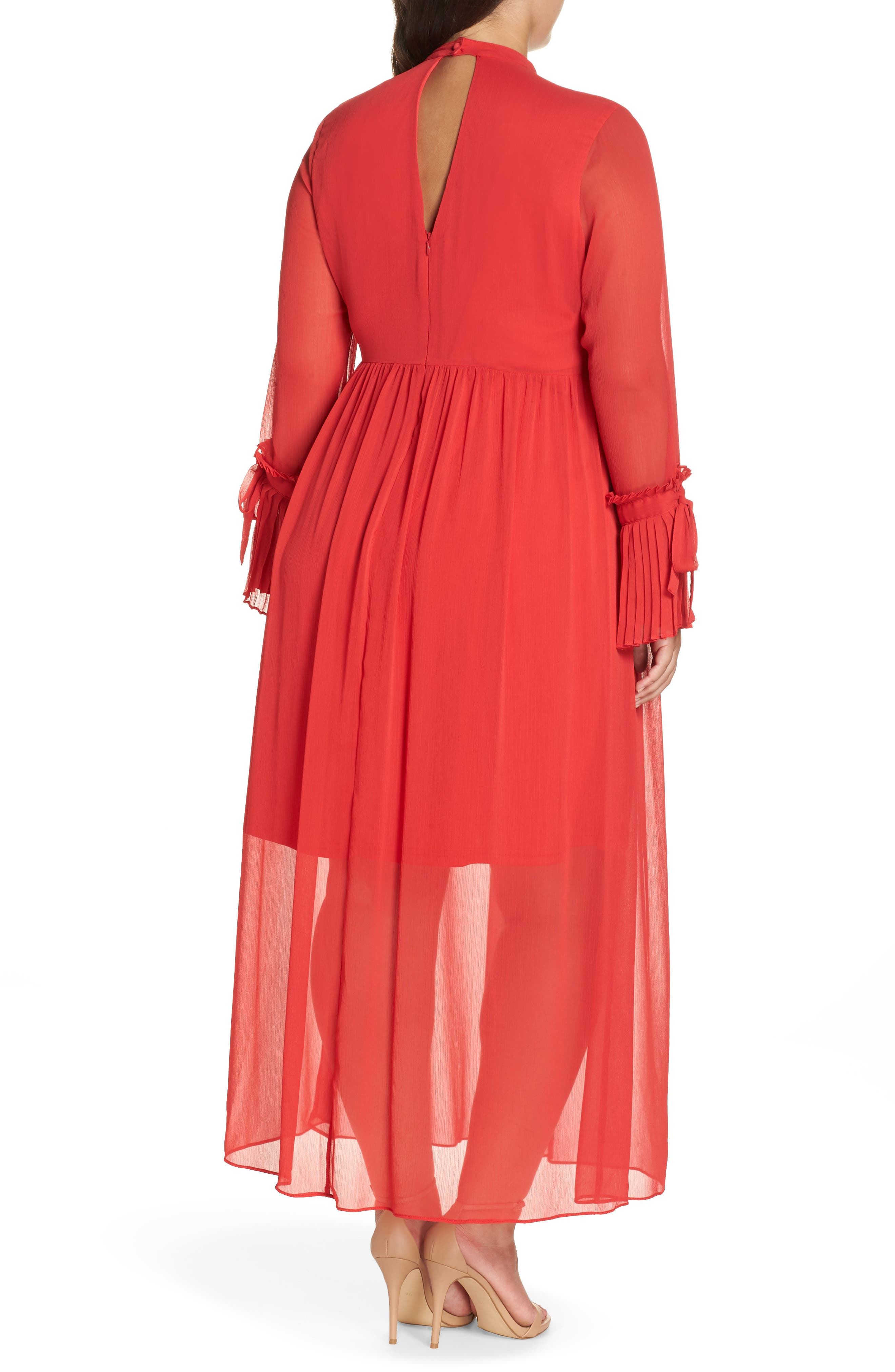 Pleated Maxi Dress,                             Alternate thumbnail 2, color,                             PINK