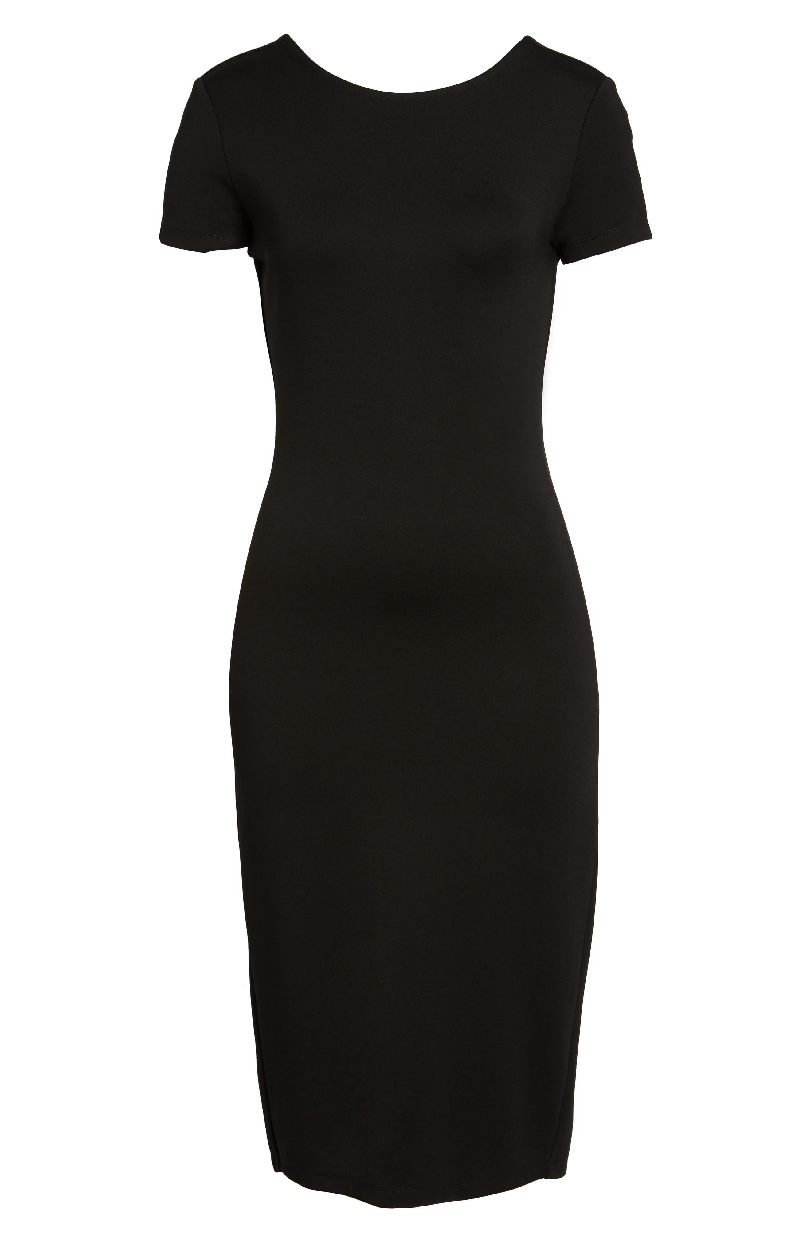 Ponte Sheath Dress,                             Alternate thumbnail 6, color,                             BLACK
