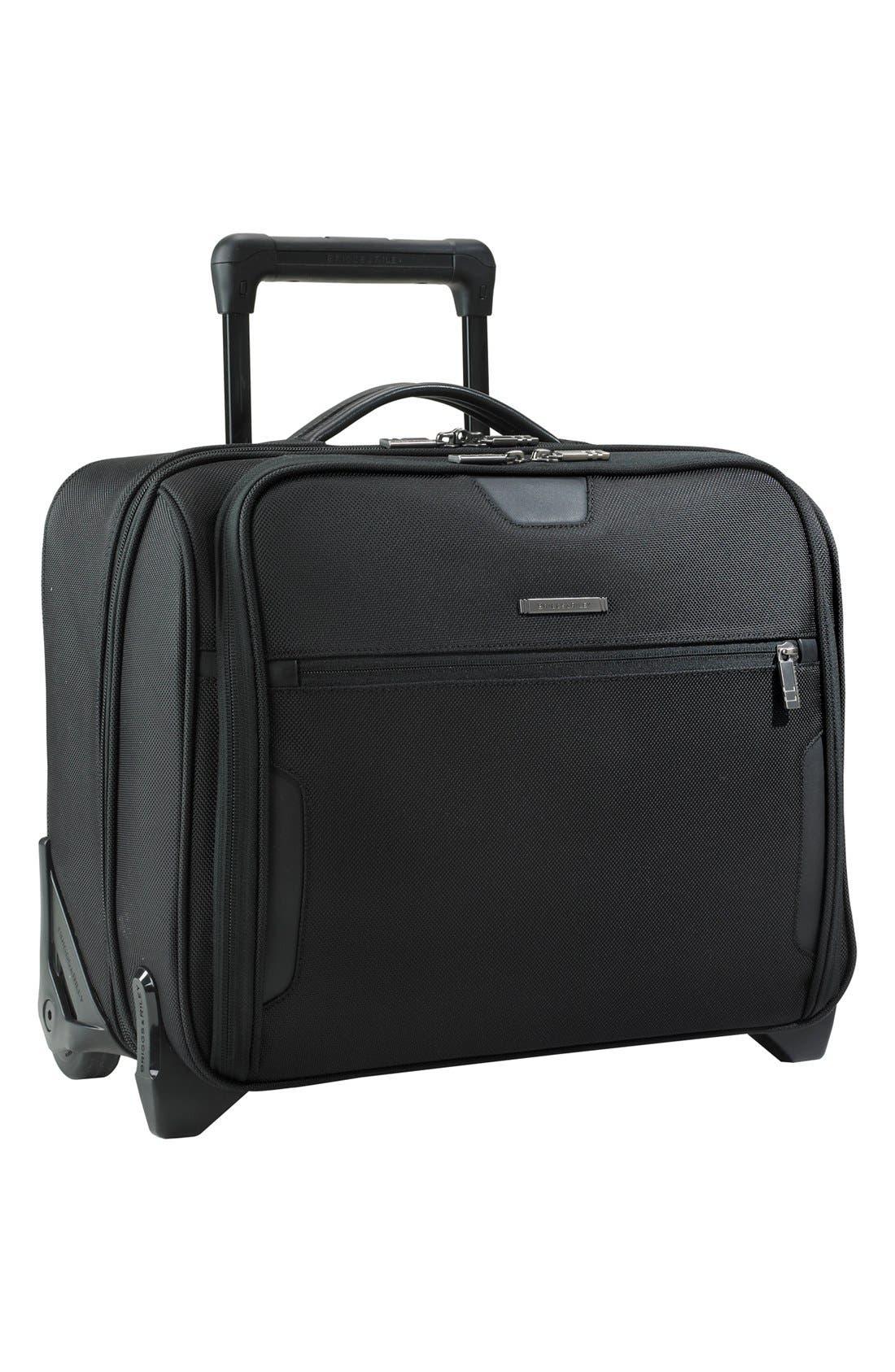 BRIGGS & RILEY 'Medium Slim' Rolling Ballistic Nylon Briefcase, Main, color, 004