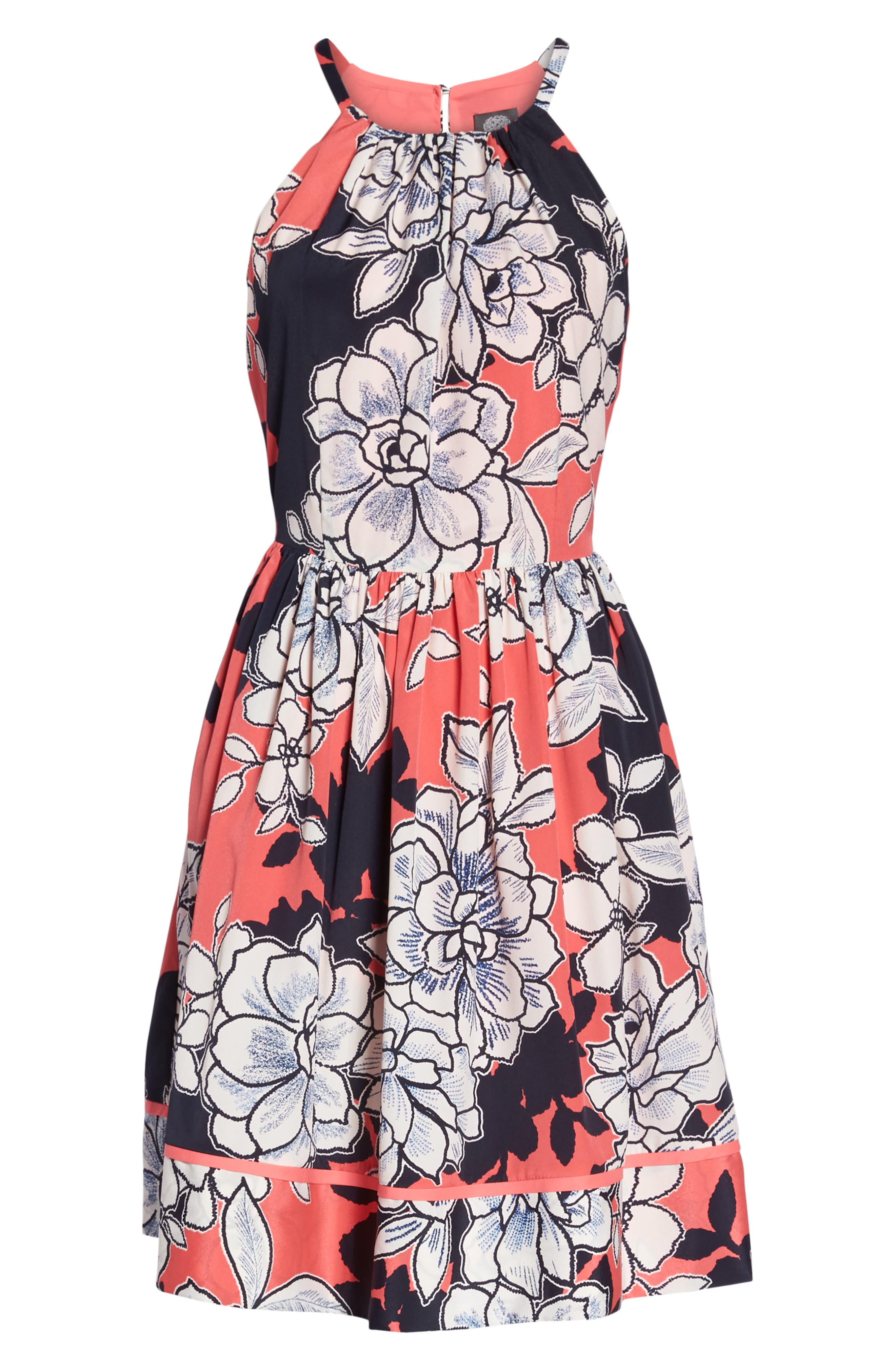 Floral Fit-and-Flare Dress,                             Alternate thumbnail 6, color,                             PINK MULTI
