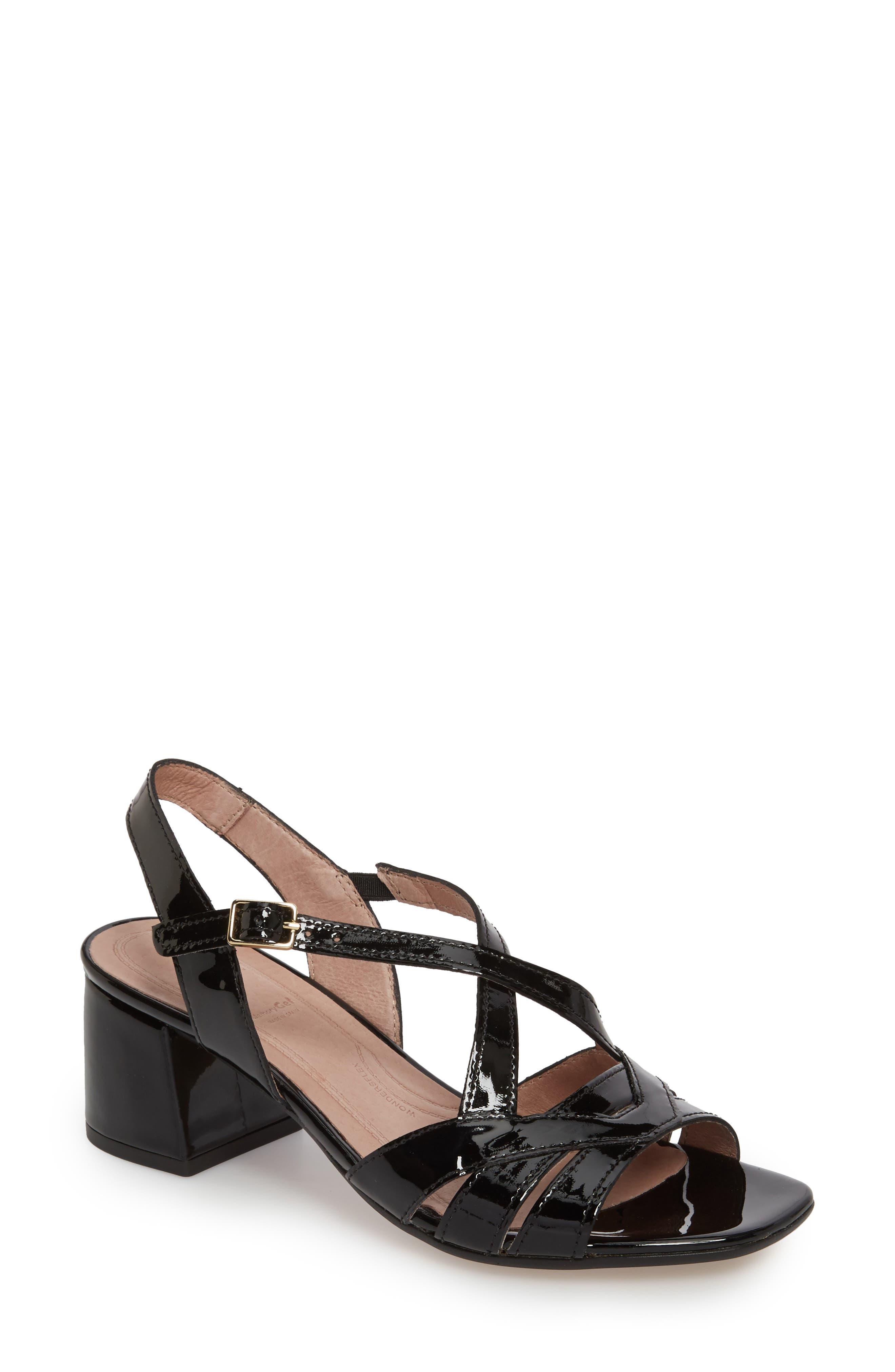 Block Heel Sandal,                             Main thumbnail 1, color,                             BLACK LEATHER
