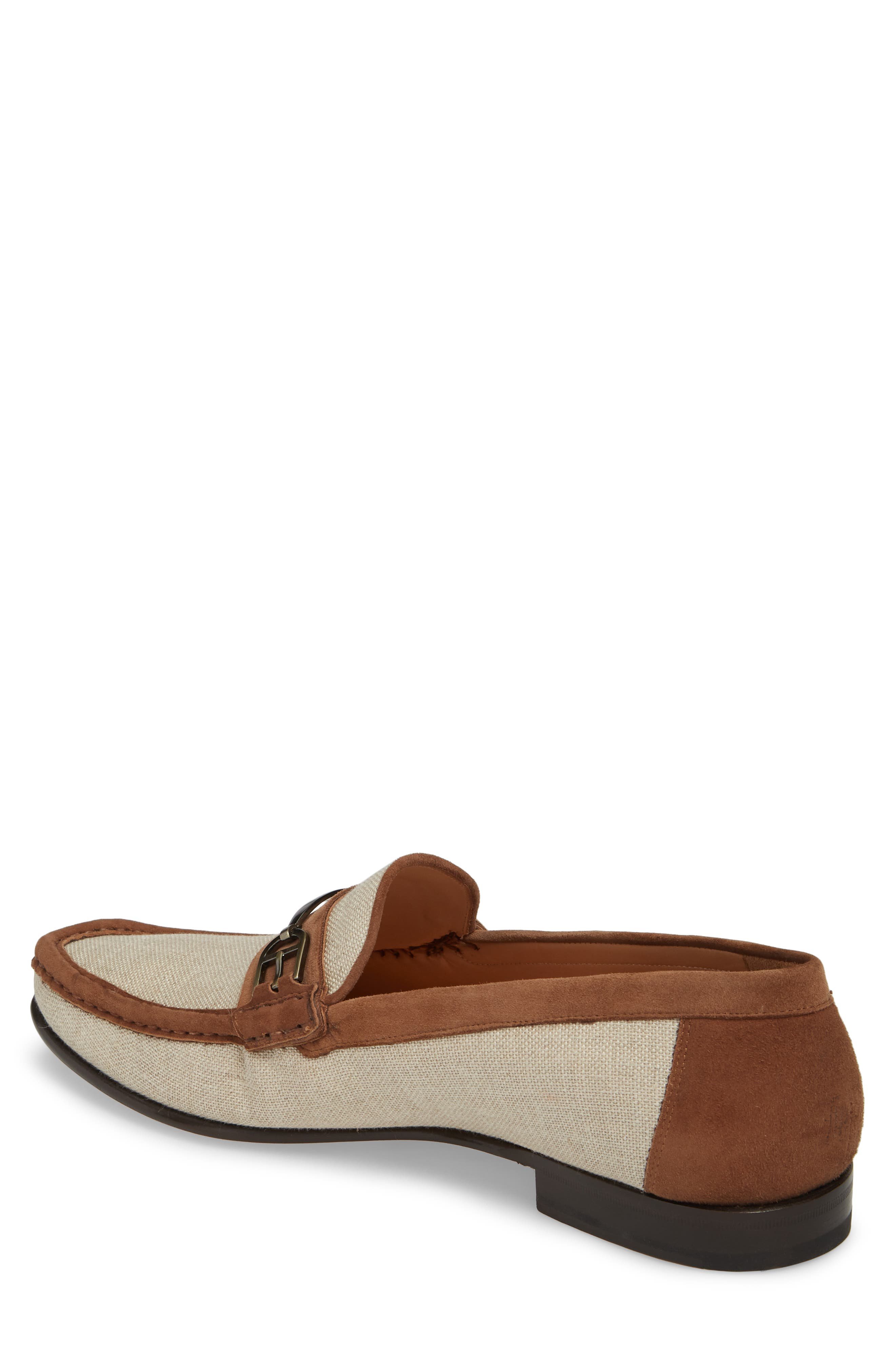 Jason Two-Tone Bit Loafer,                             Alternate thumbnail 2, color,                             BONE/ COGNAC LINEN/ SUEDE