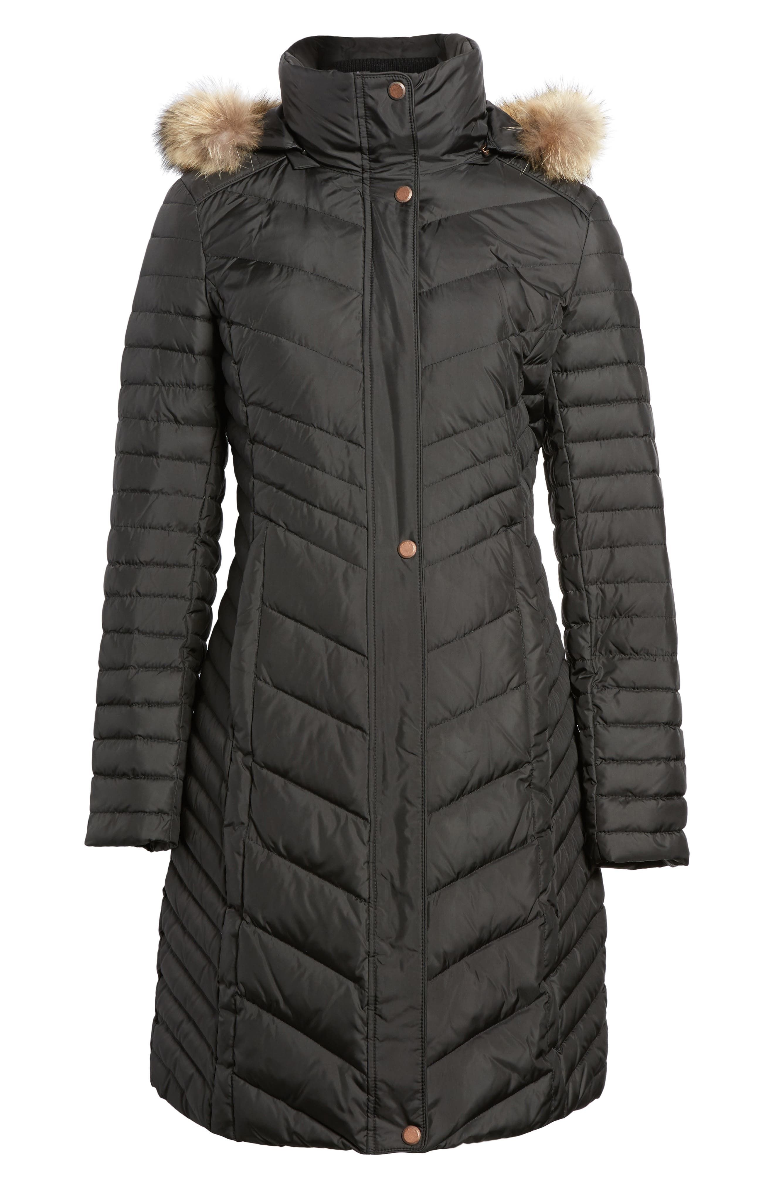 Chevron Quilted Coat with Genuine Coyote Fur Trim,                             Alternate thumbnail 13, color,