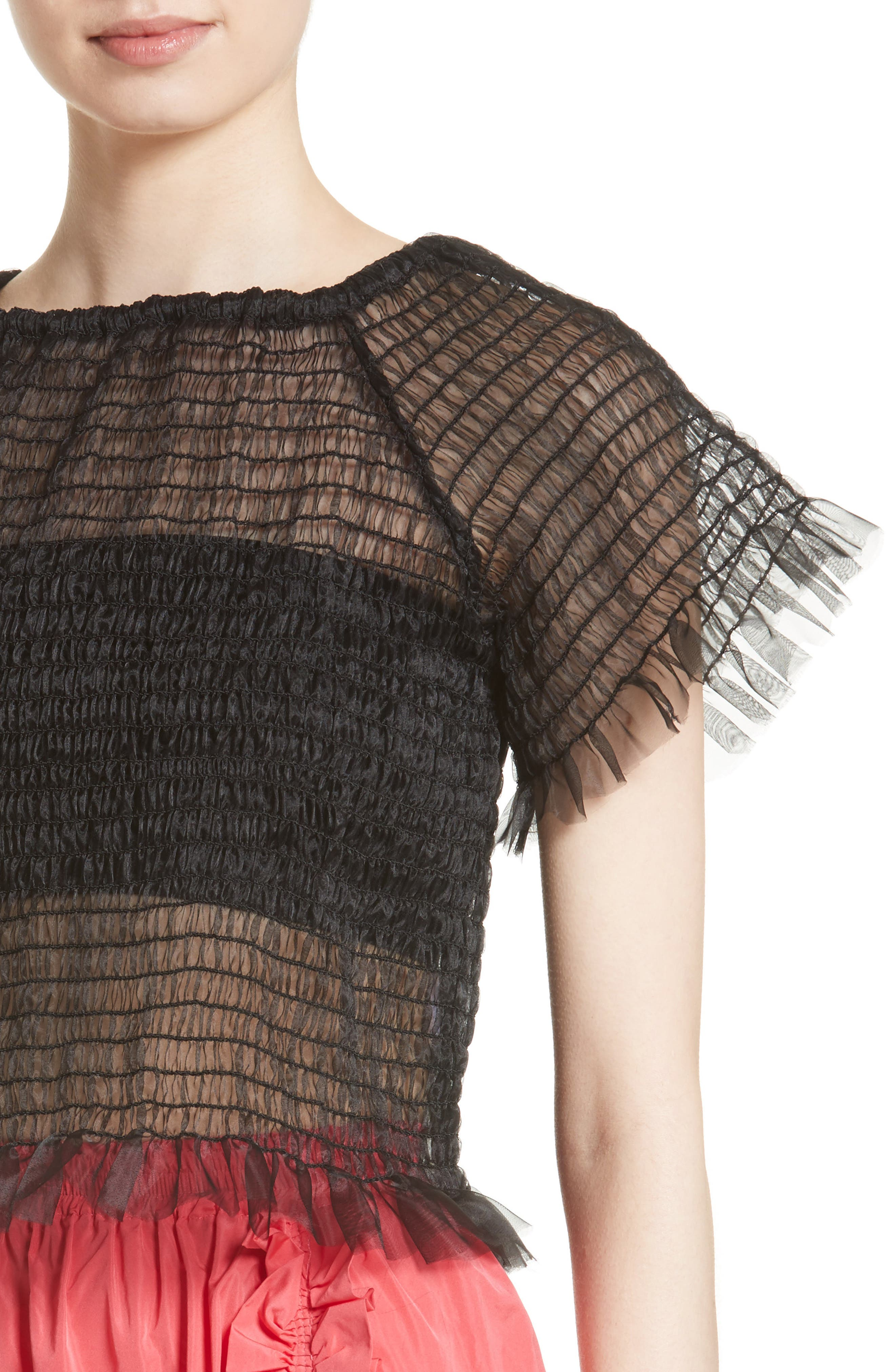 Blonde Tulle Top,                             Alternate thumbnail 4, color,                             001