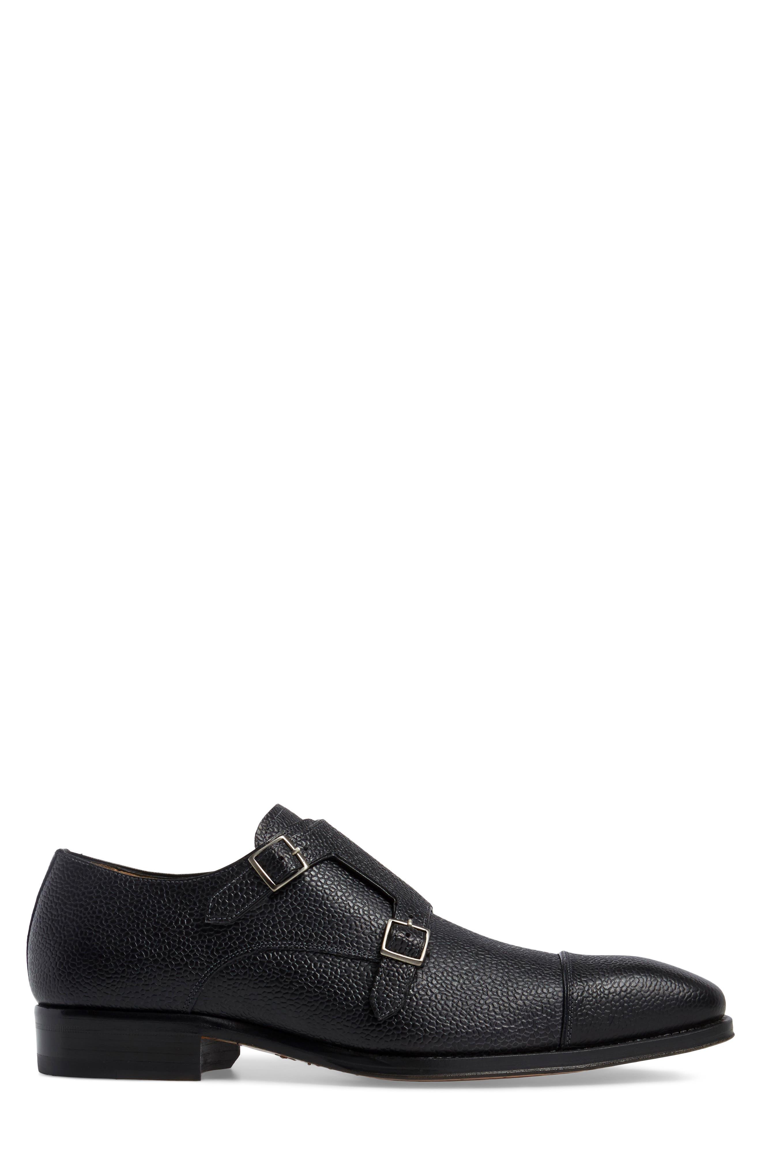 Lubrin Double Monk Strap Shoe,                             Alternate thumbnail 3, color,                             BLACK LEATHER