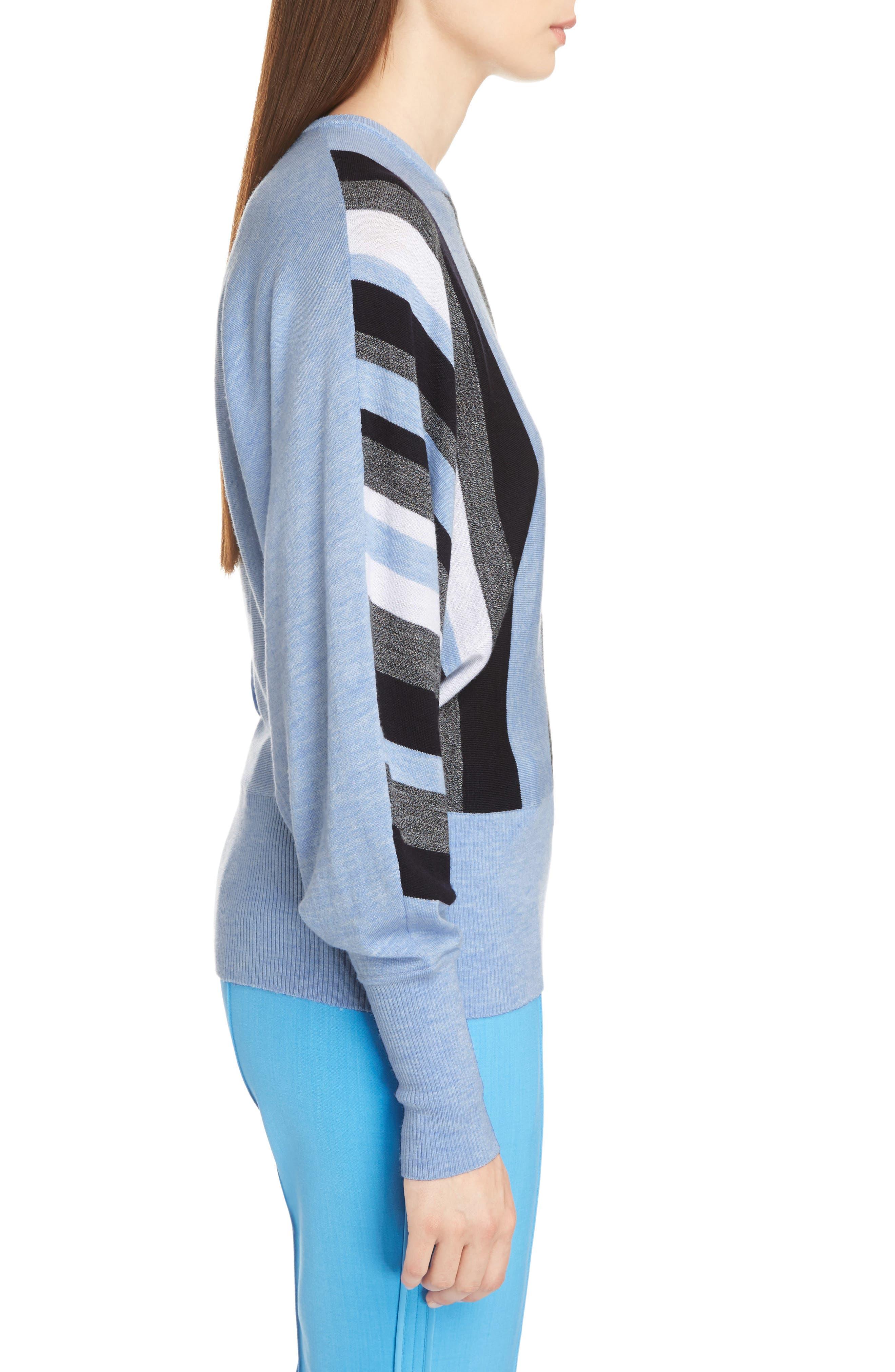 Stripe Wool Dolman Sweater,                             Alternate thumbnail 3, color,                             403