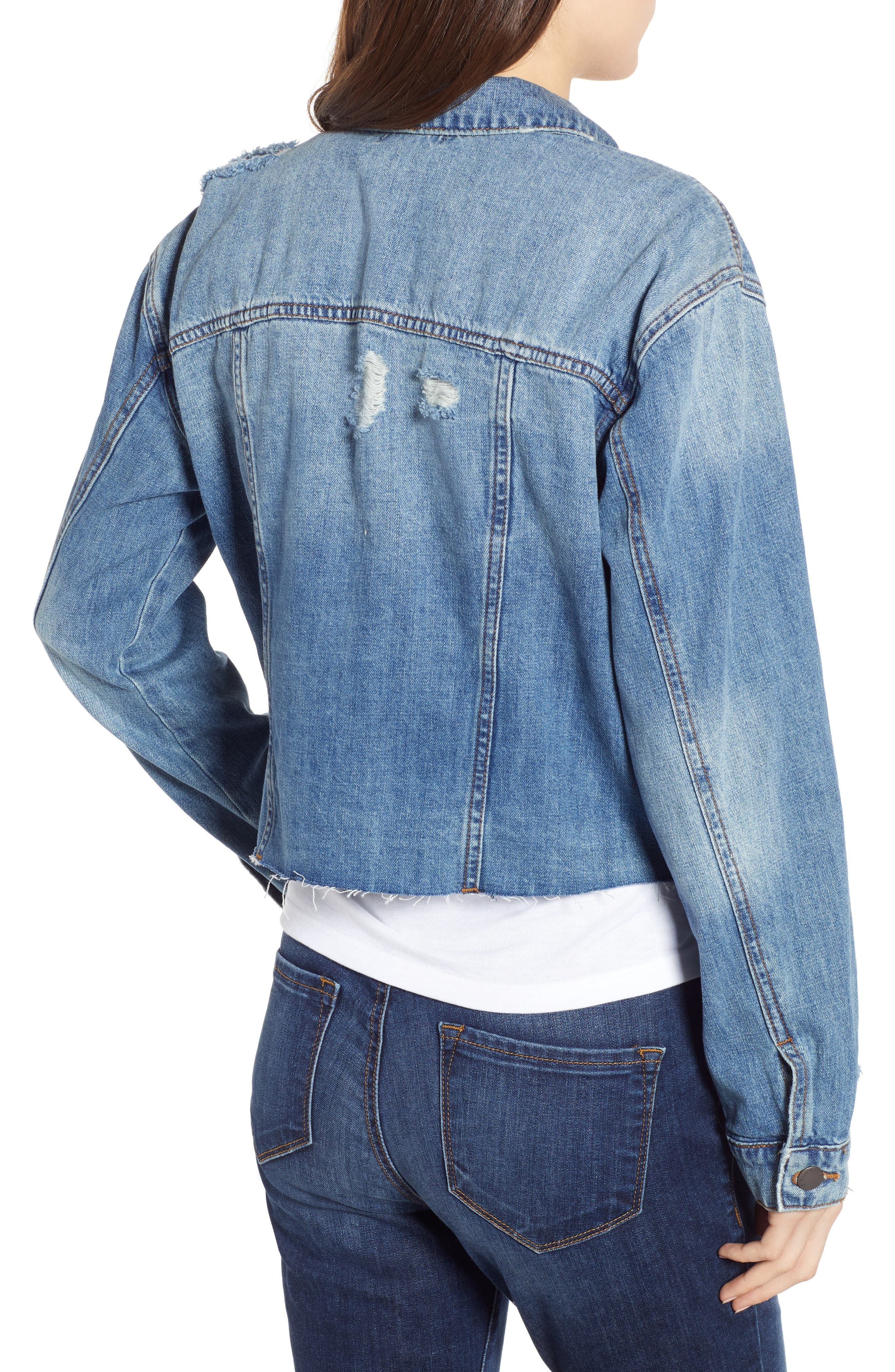 STS BLUE,                             Boyfriend Crop Denim Jacket,                             Alternate thumbnail 2, color,                             400