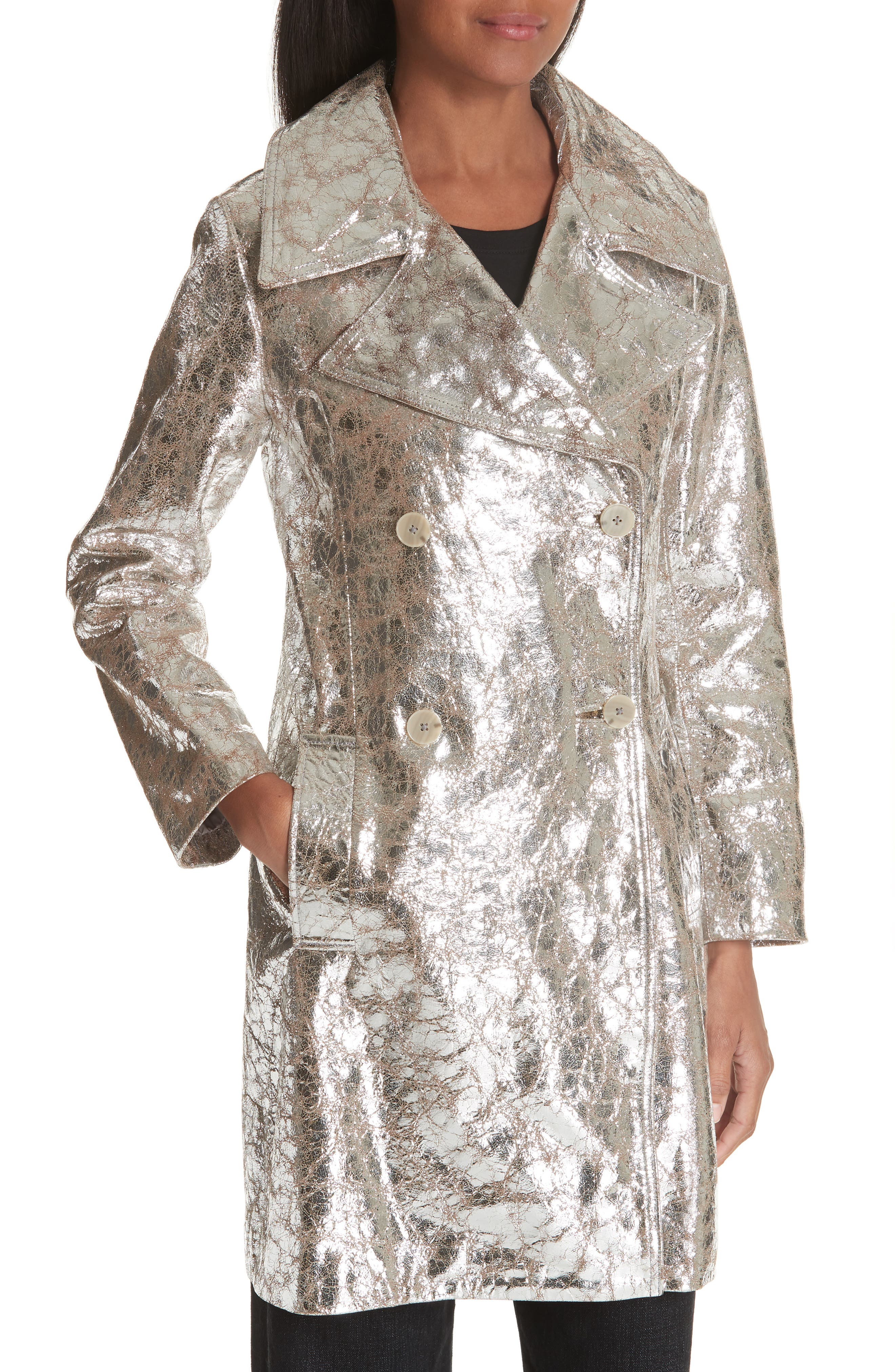 Double Breasted Metallic Lambskin Coat,                             Alternate thumbnail 4, color,                             040