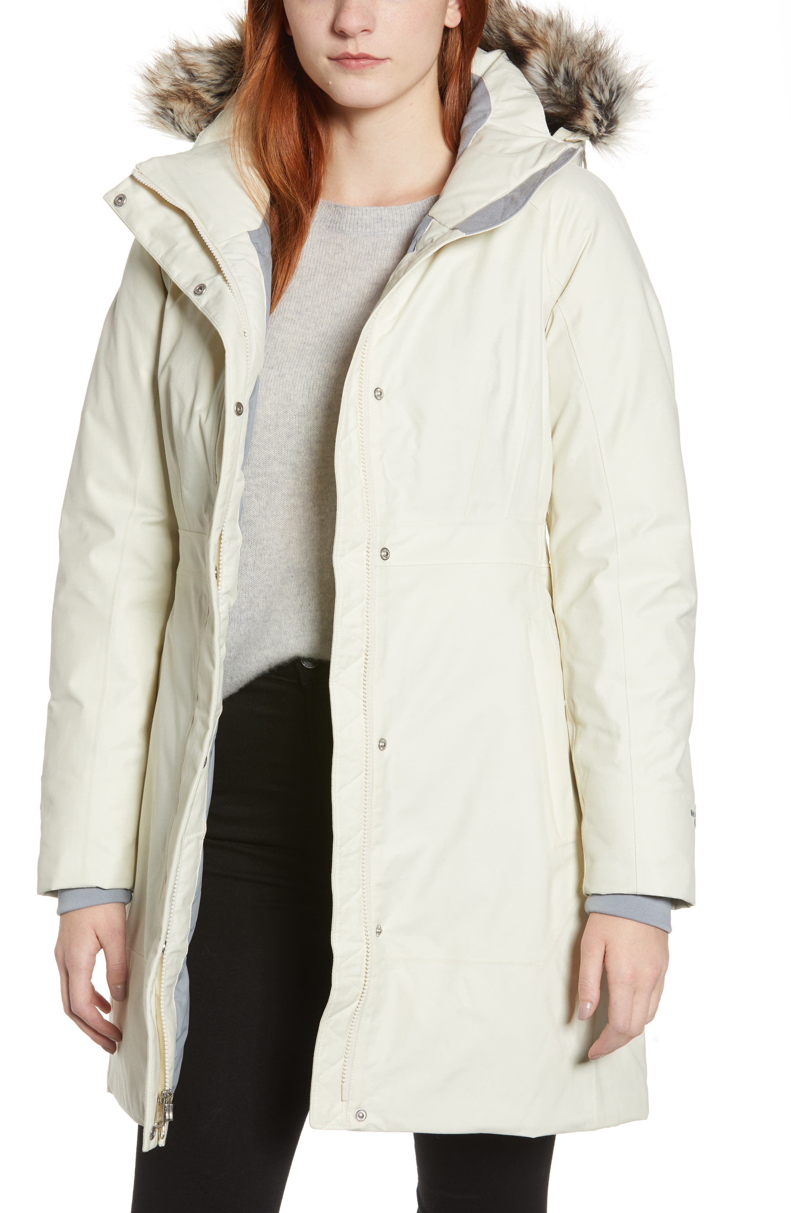 Arctic II Waterproof 550 Fill Power Down Parka with Faux Fur Trim,                         Main,                         color, VINTAGE WHITE