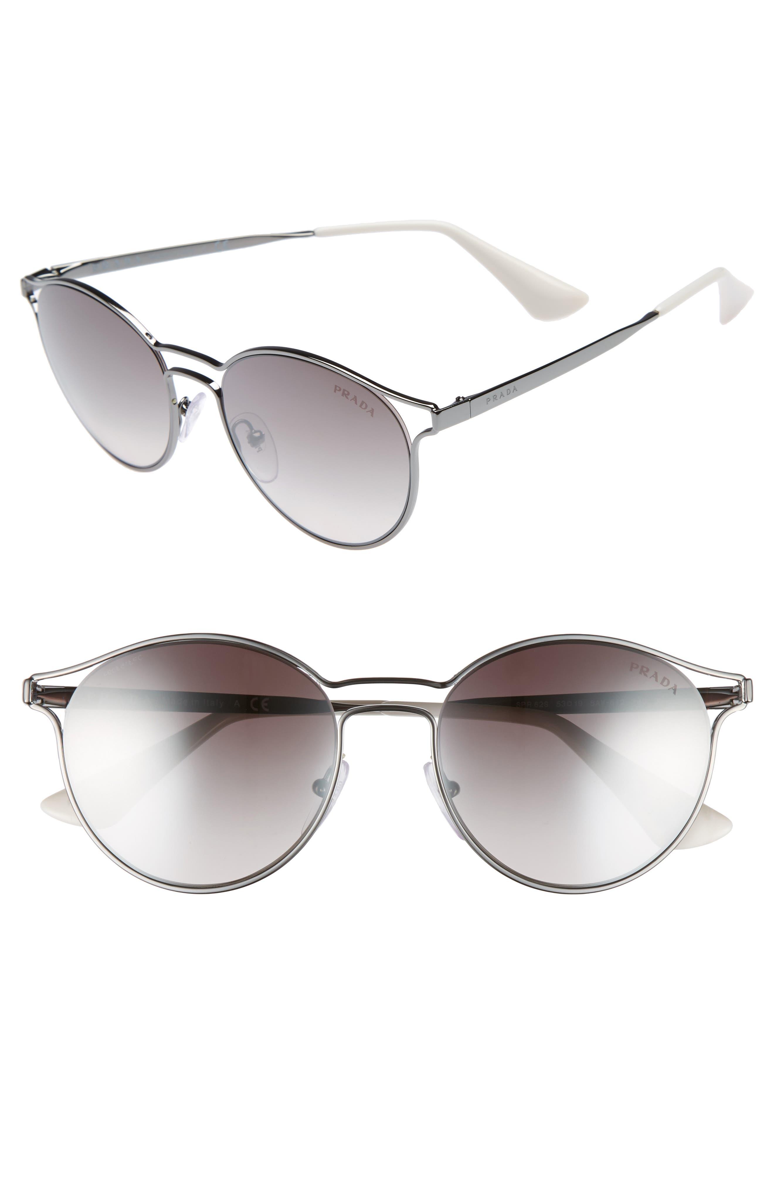 53mm Round Mirrored Sunglasses,                         Main,                         color, 062