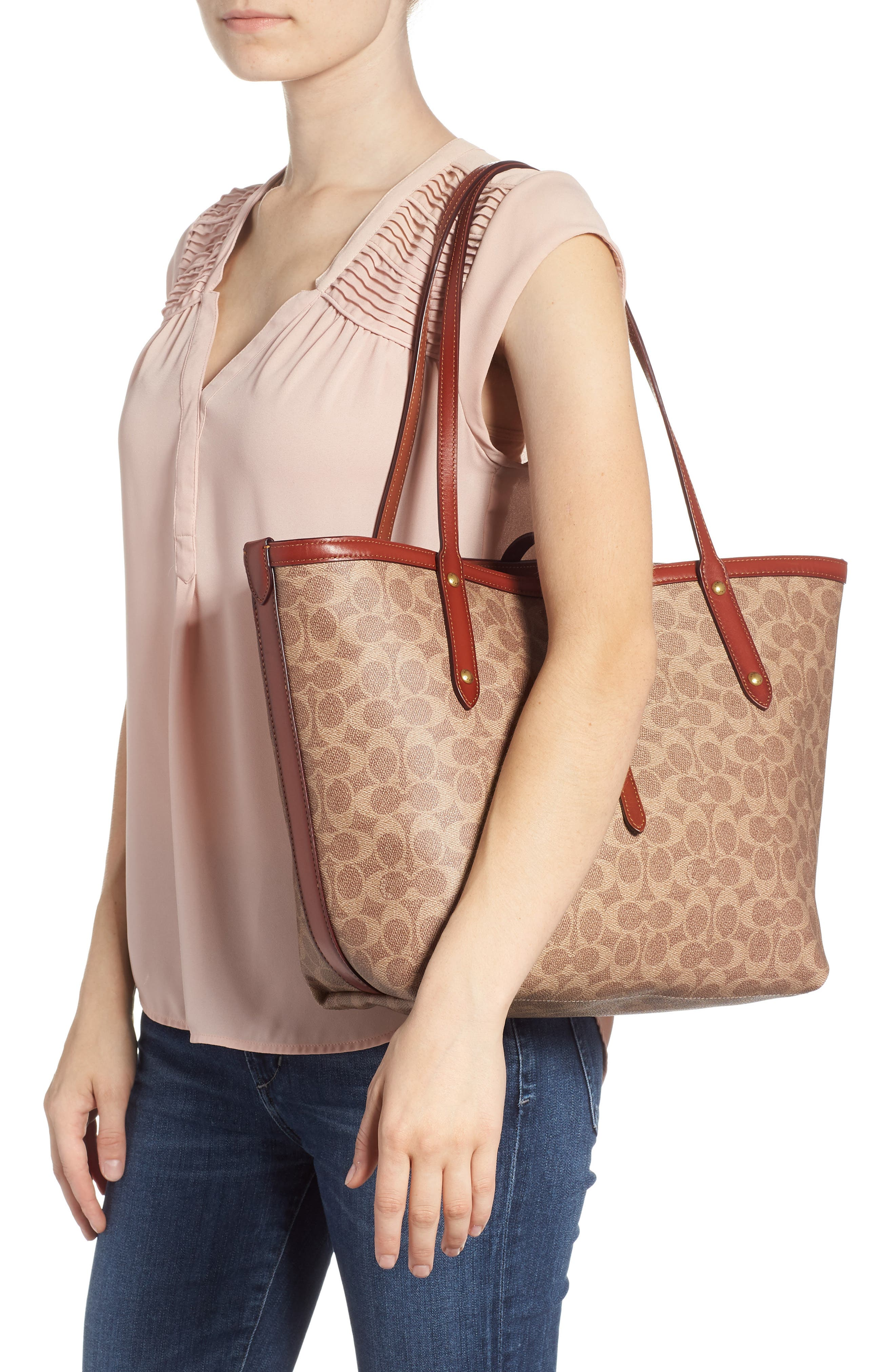 Market Logo Faux Leather Tote,                             Alternate thumbnail 2, color,                             200