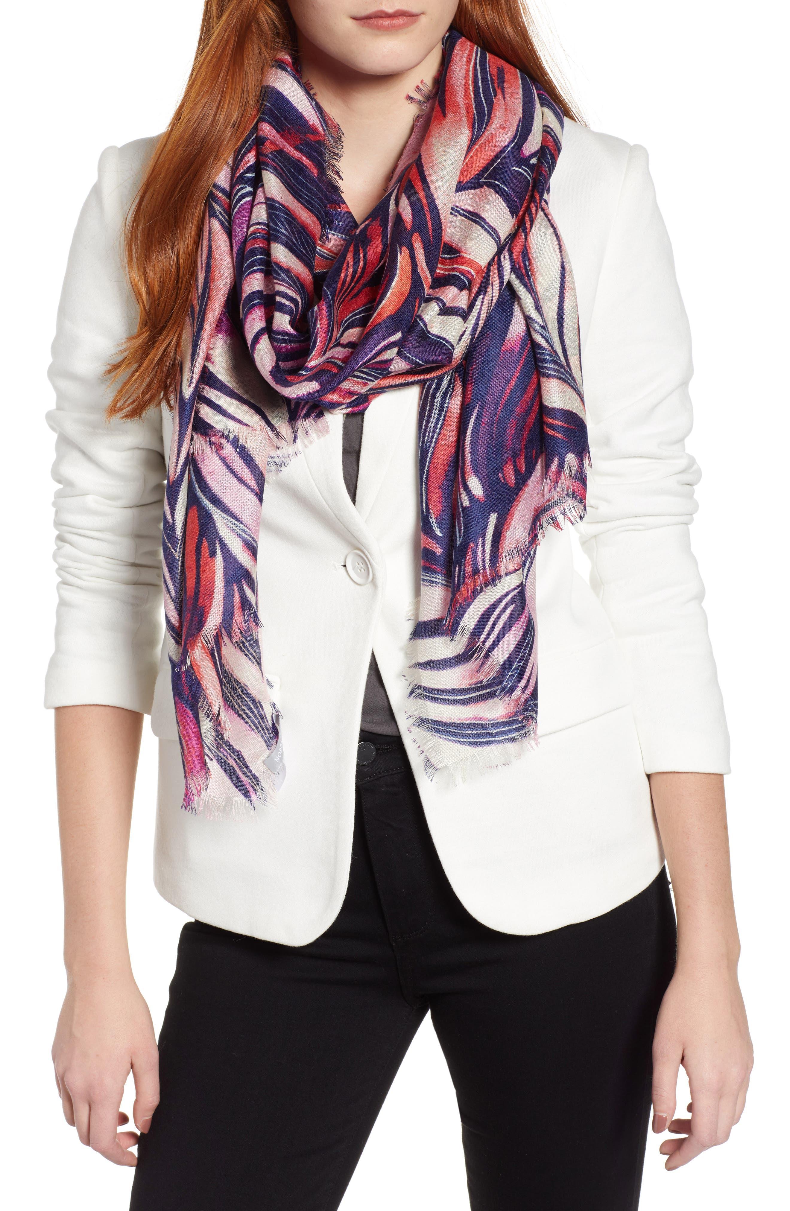 Eyelash Trim Print Cashmere & Silk Wrap,                             Main thumbnail 22, color,