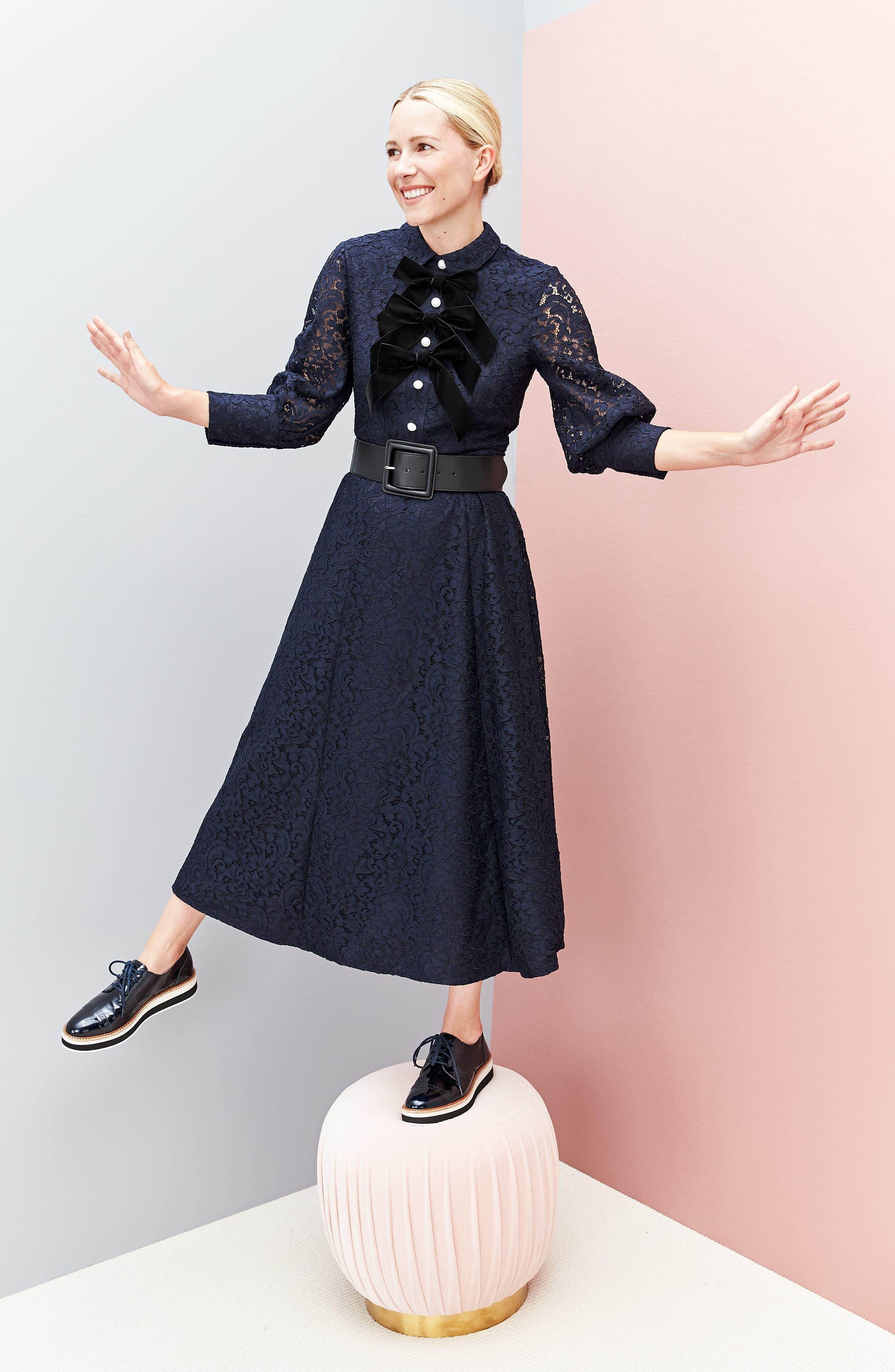 x Atlantic-Pacific Bow Detail Lace Midi Dress,                             Alternate thumbnail 2, color,                             NAVY