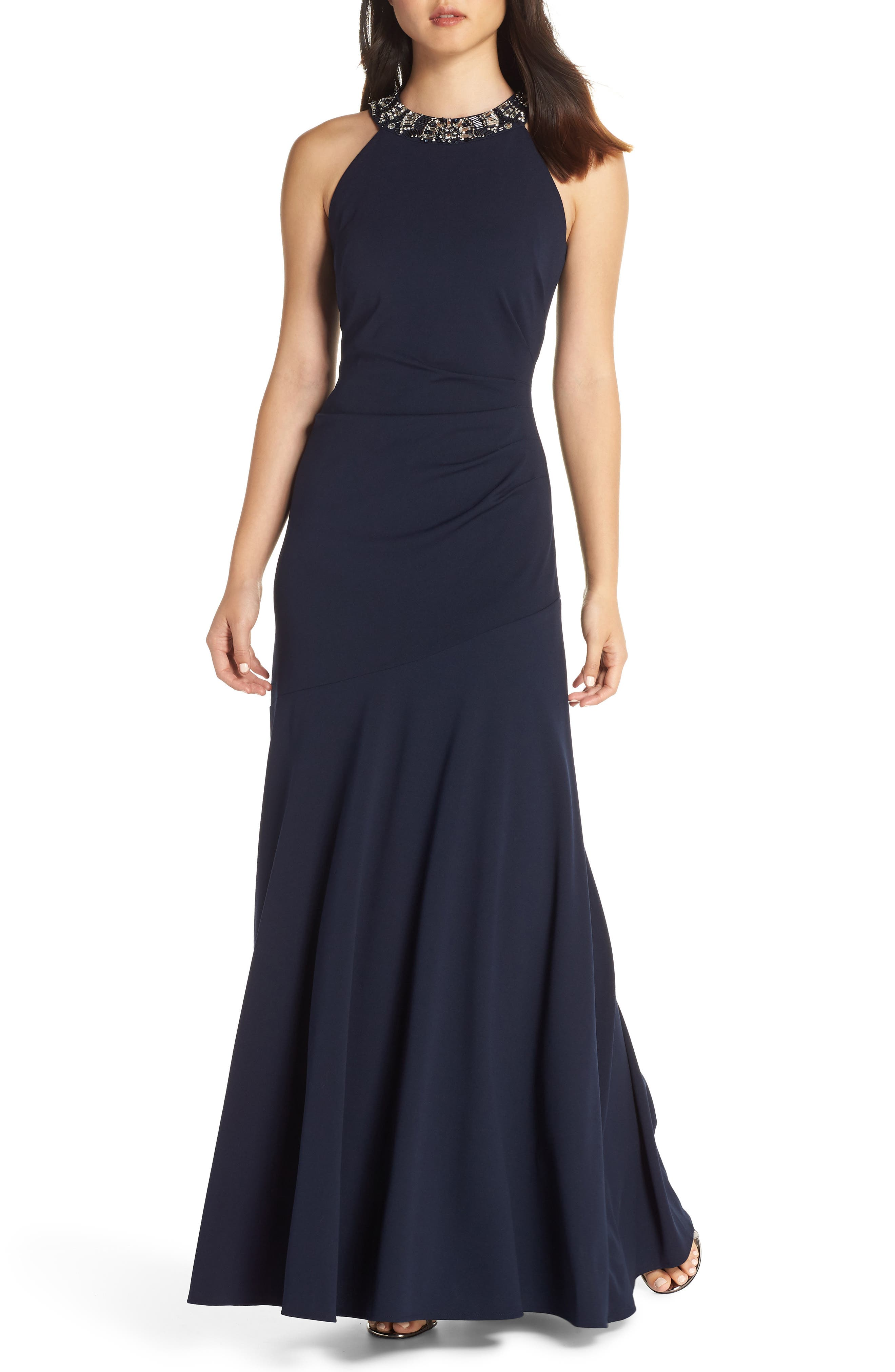 Vince Camuto Beaded Neck Trumpet Gown, Blue