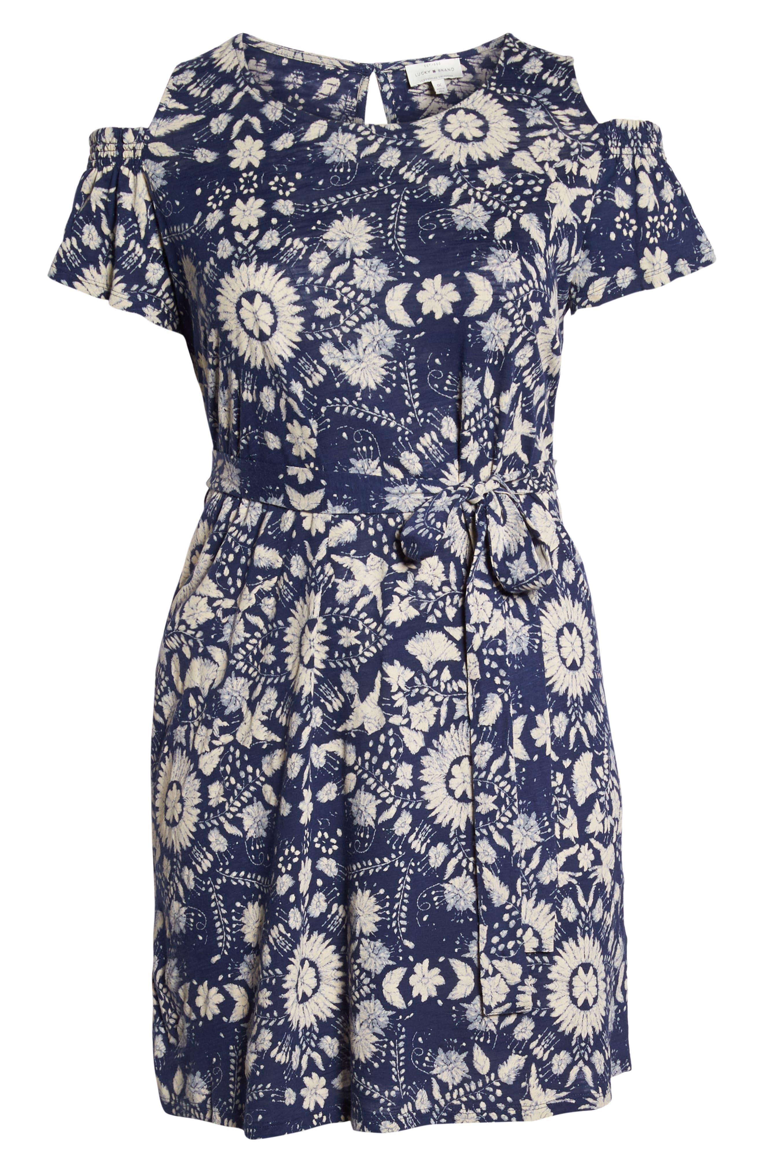 Cold Shoulder Print Belted Dress,                             Alternate thumbnail 7, color,                             460