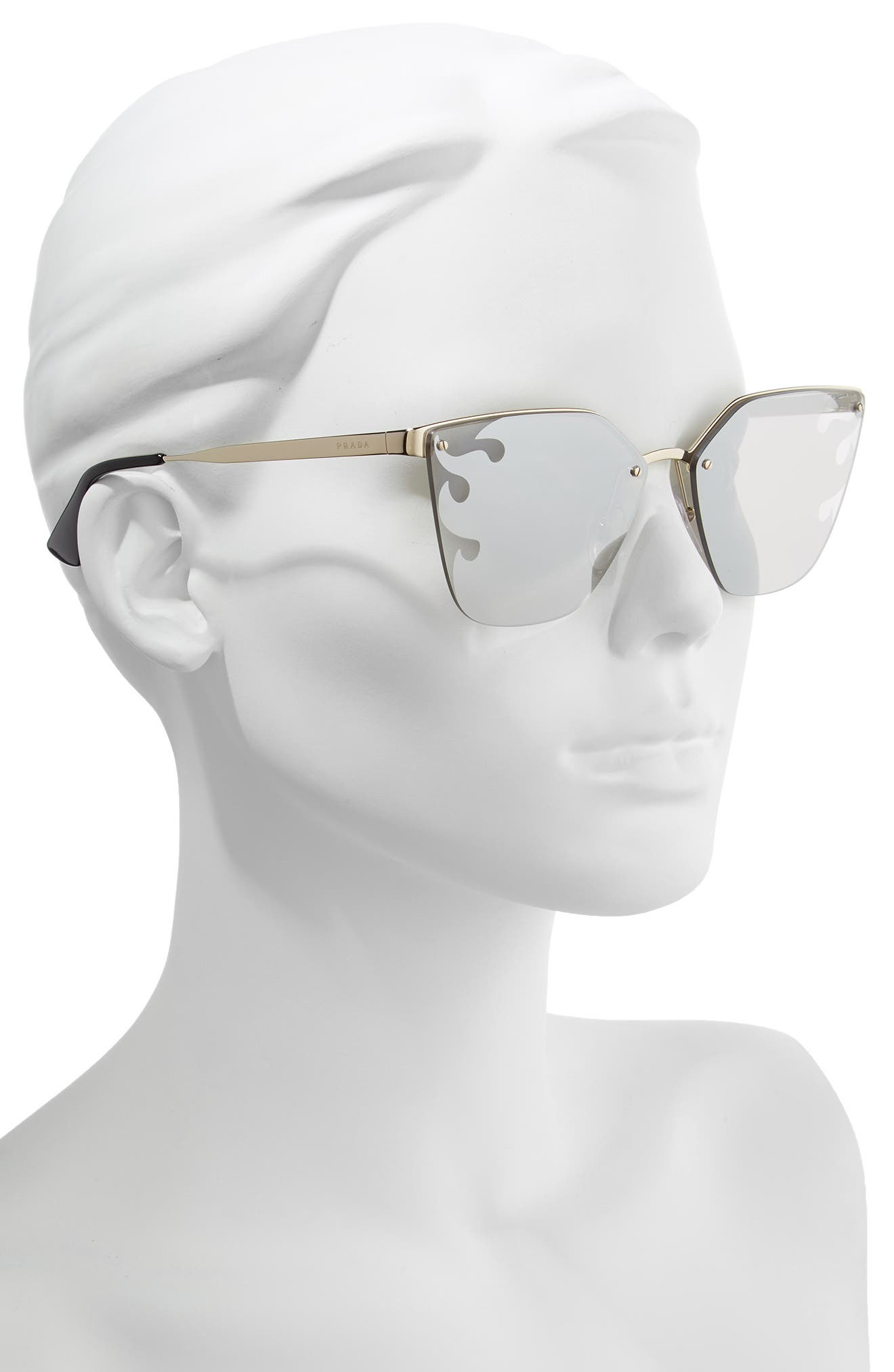 PRADA,                             Cinéma 63mm Oversize Rimless Sunglasses,                             Alternate thumbnail 2, color,                             GOLD/ GREY SILVER MIRROR