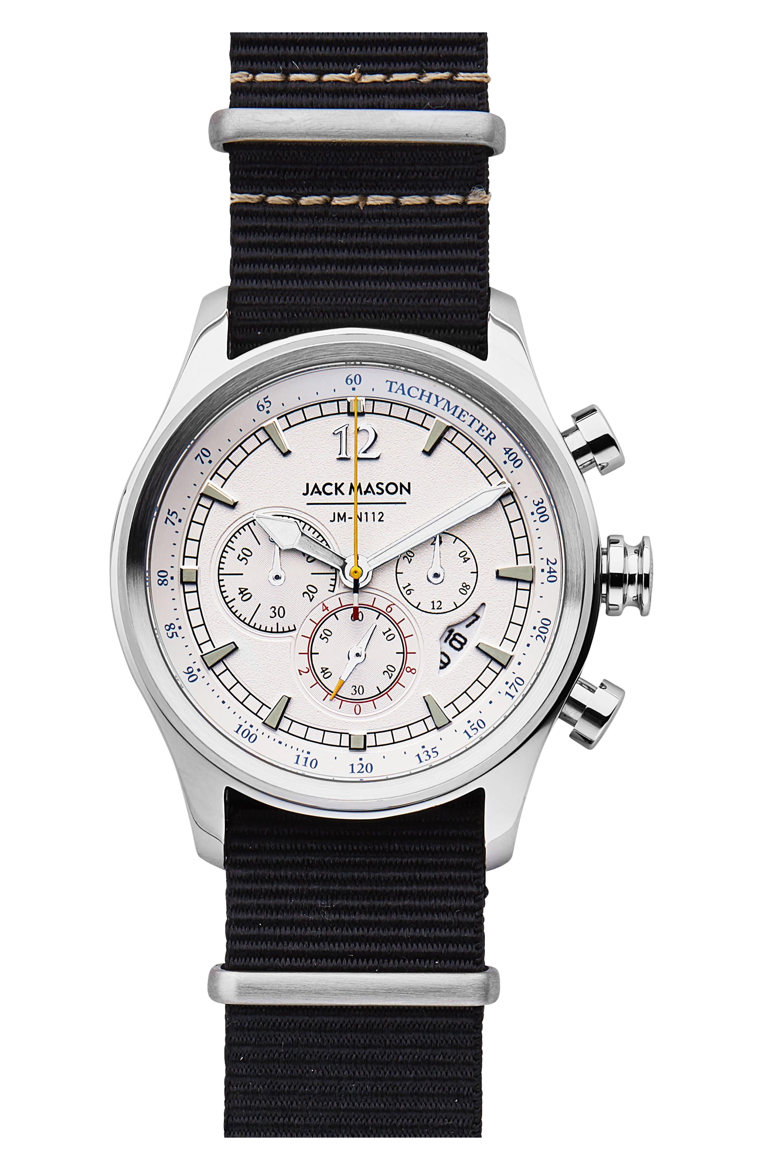 Nautical Chronograph Nato Strap Watch, 42mm,                         Main,                         color, WHITE/ BLACK