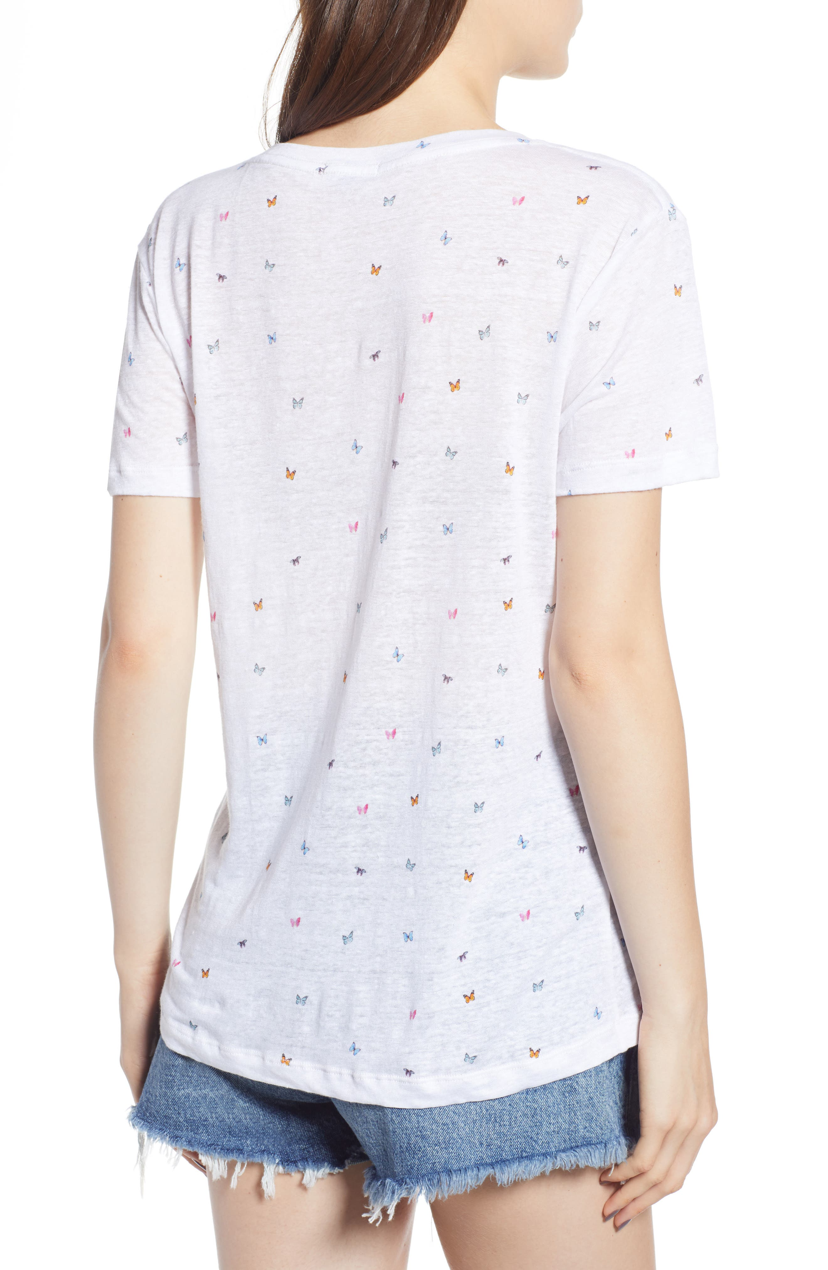 Cara Butterfly Print Tee,                             Alternate thumbnail 2, color,                             RAINBOW BUTTERFLIES-WHITE