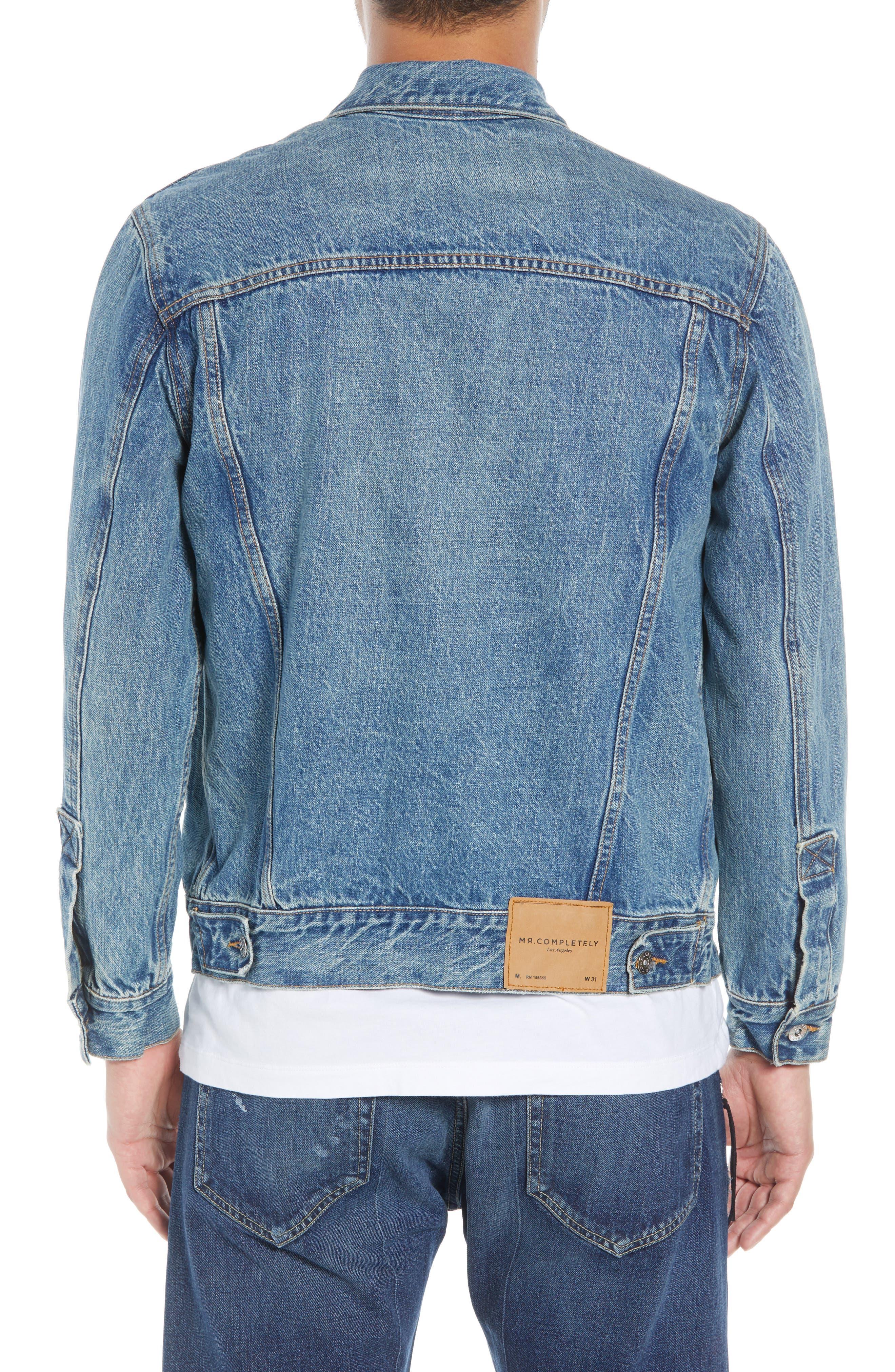 Slim Fit Denim Jacket,                             Alternate thumbnail 2, color,                             WASHED